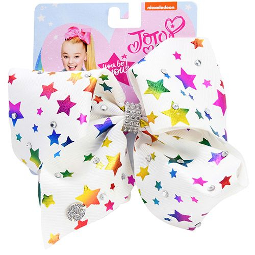 JoJo Siwa Large Signature White Bow with Rainbow Foil Stars