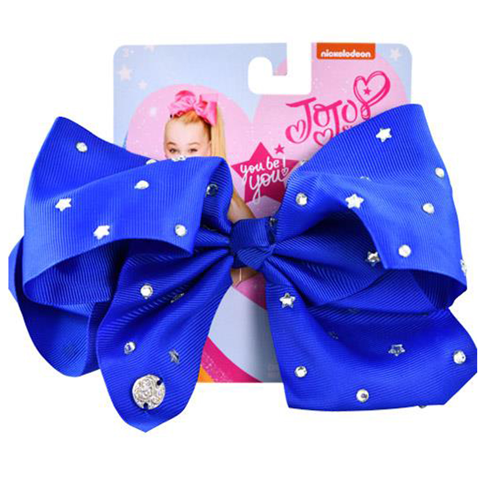 Nickelodeon JoJo Siwa Girls Large Hair Clip Style Bow Navy Blue with Rhinestones