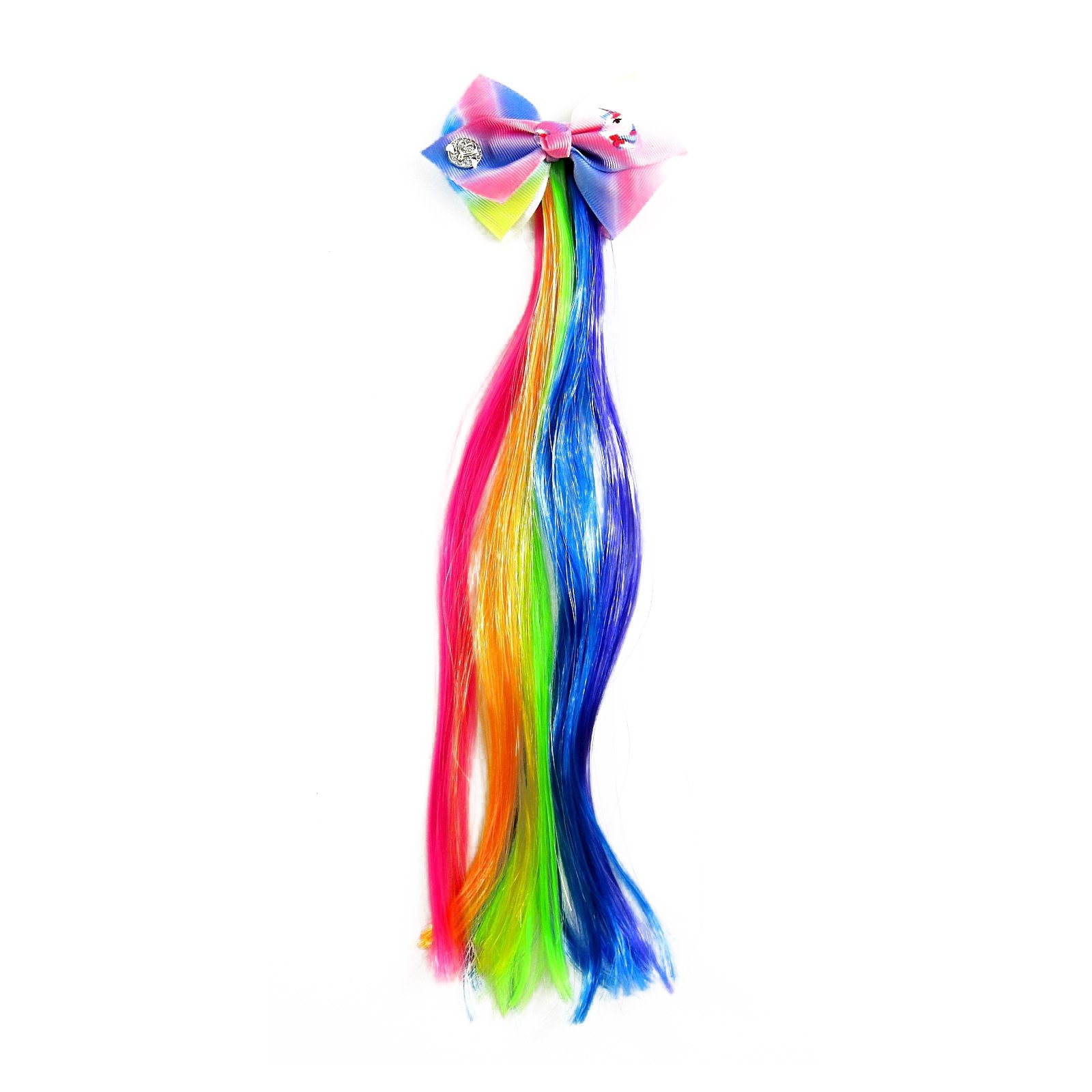 JoJo Siwa Girls Faux Hair Pony Extension with Pastel Hair Bow Clip - Rainbow