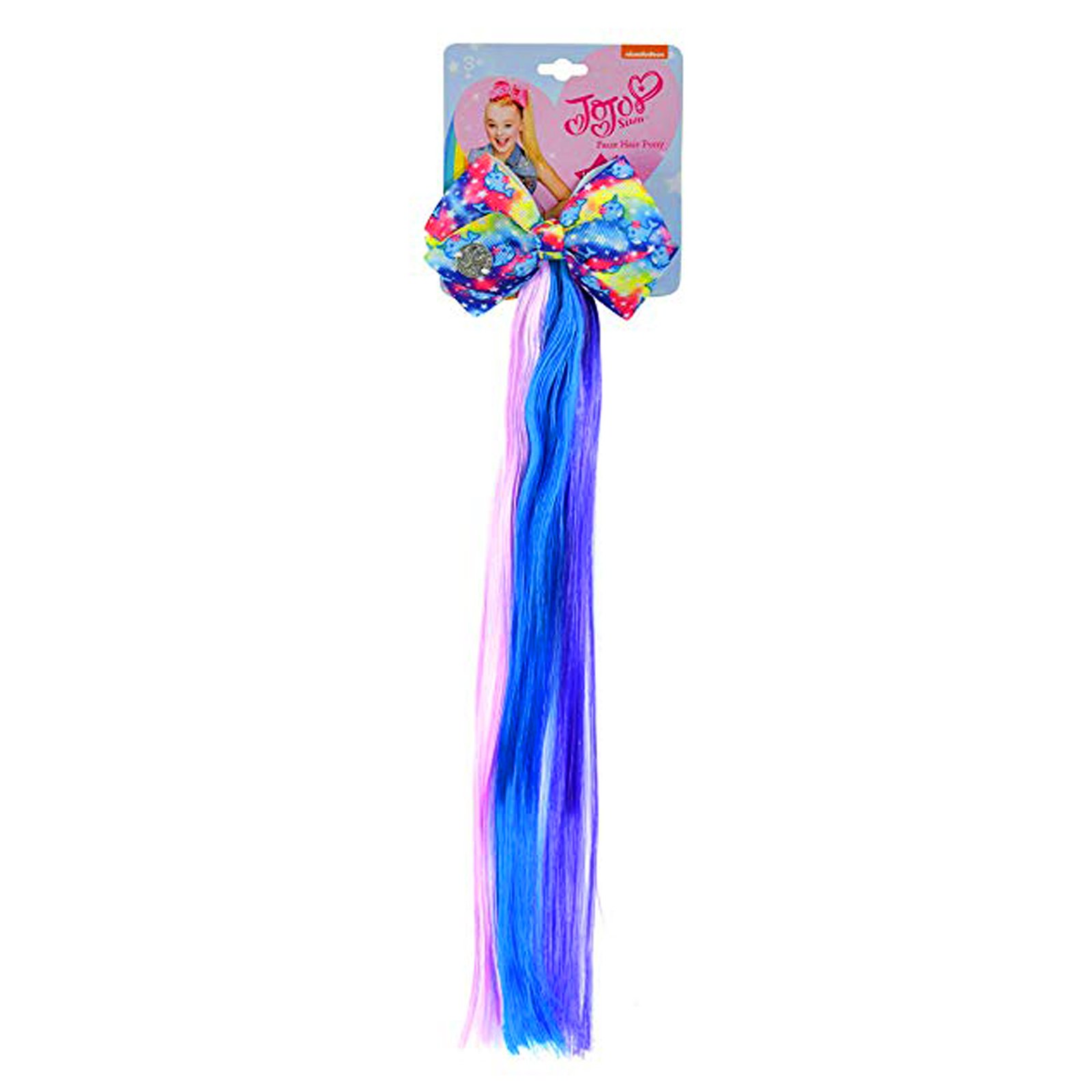 JoJo Siwa Girls Faux Hair Pony Extension with Hair Bow Clip - Ombre Blue Purple