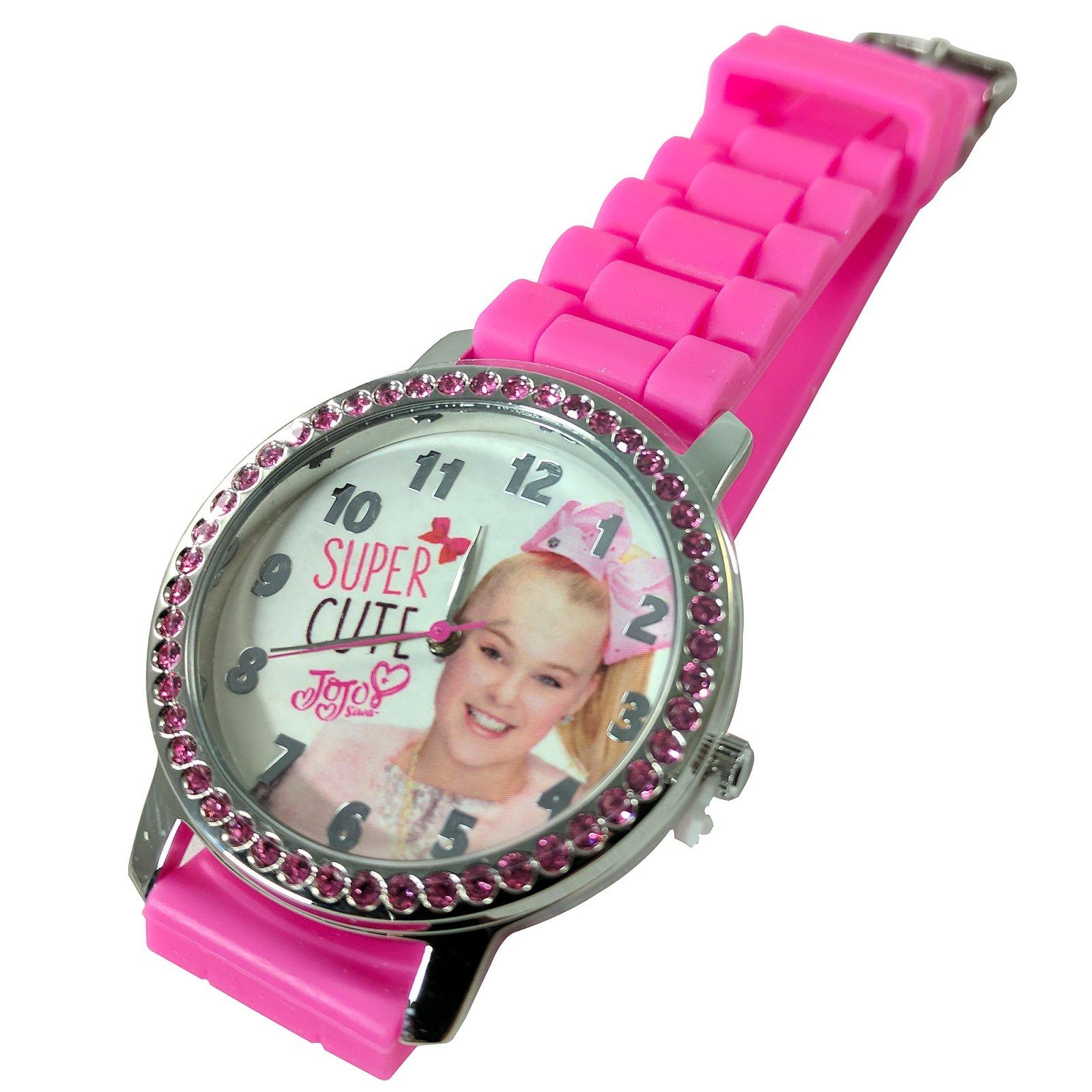 JoJo Siwa Girls Rhinestone Watch Ribbed Band Dress Up - Pink