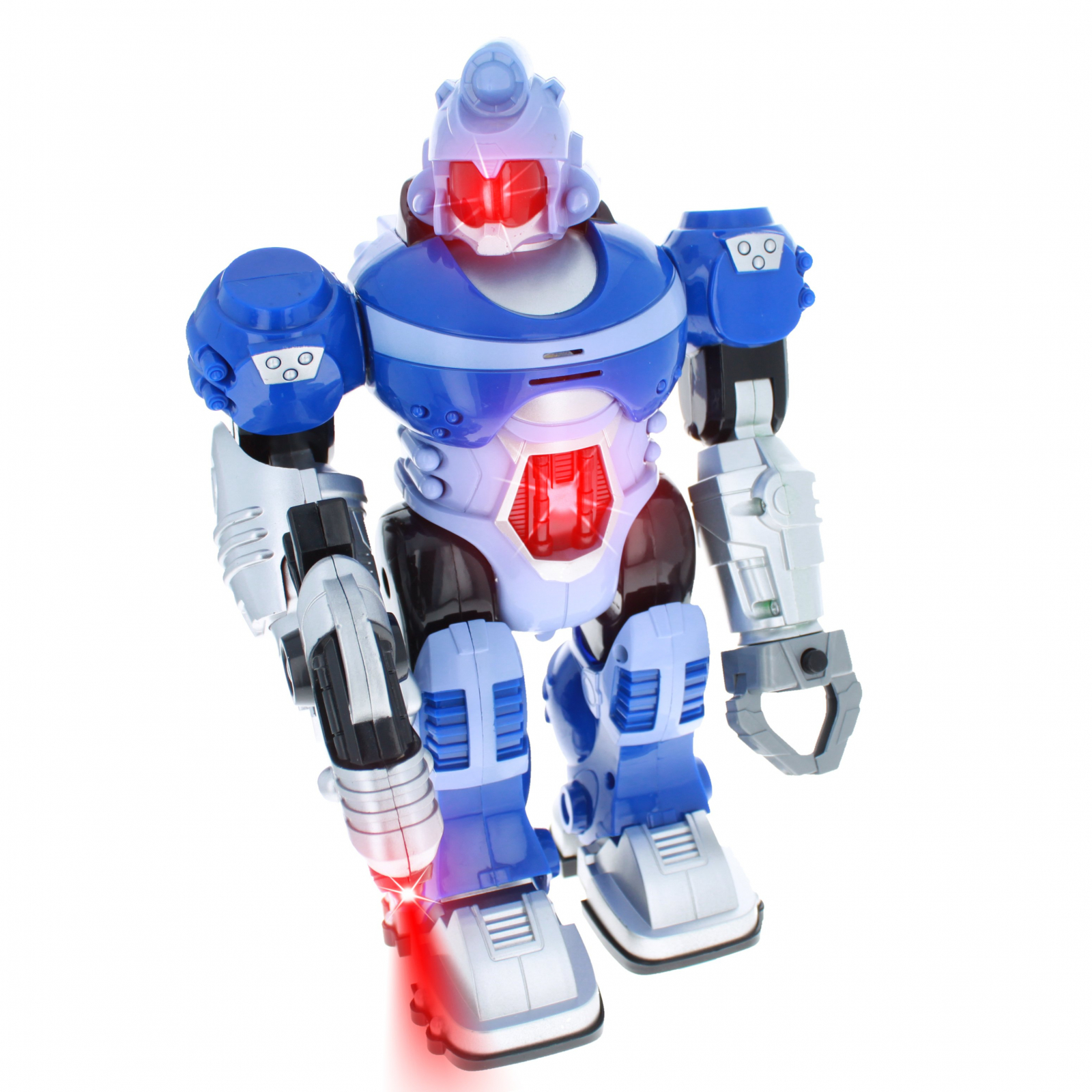 Power Warrior Light Up LED Super Robot Action Figure -Blue