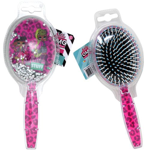 LOL OMG Round Pink Leopard Floating Confetti Hair Brush Kids