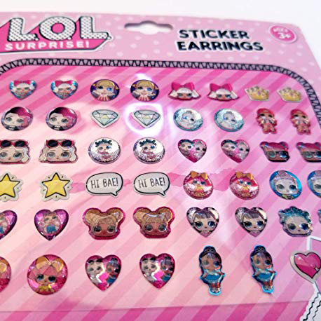 LOL Surprise Girls Pretend Play 24 Pair Sticker Earring Dress Up Set