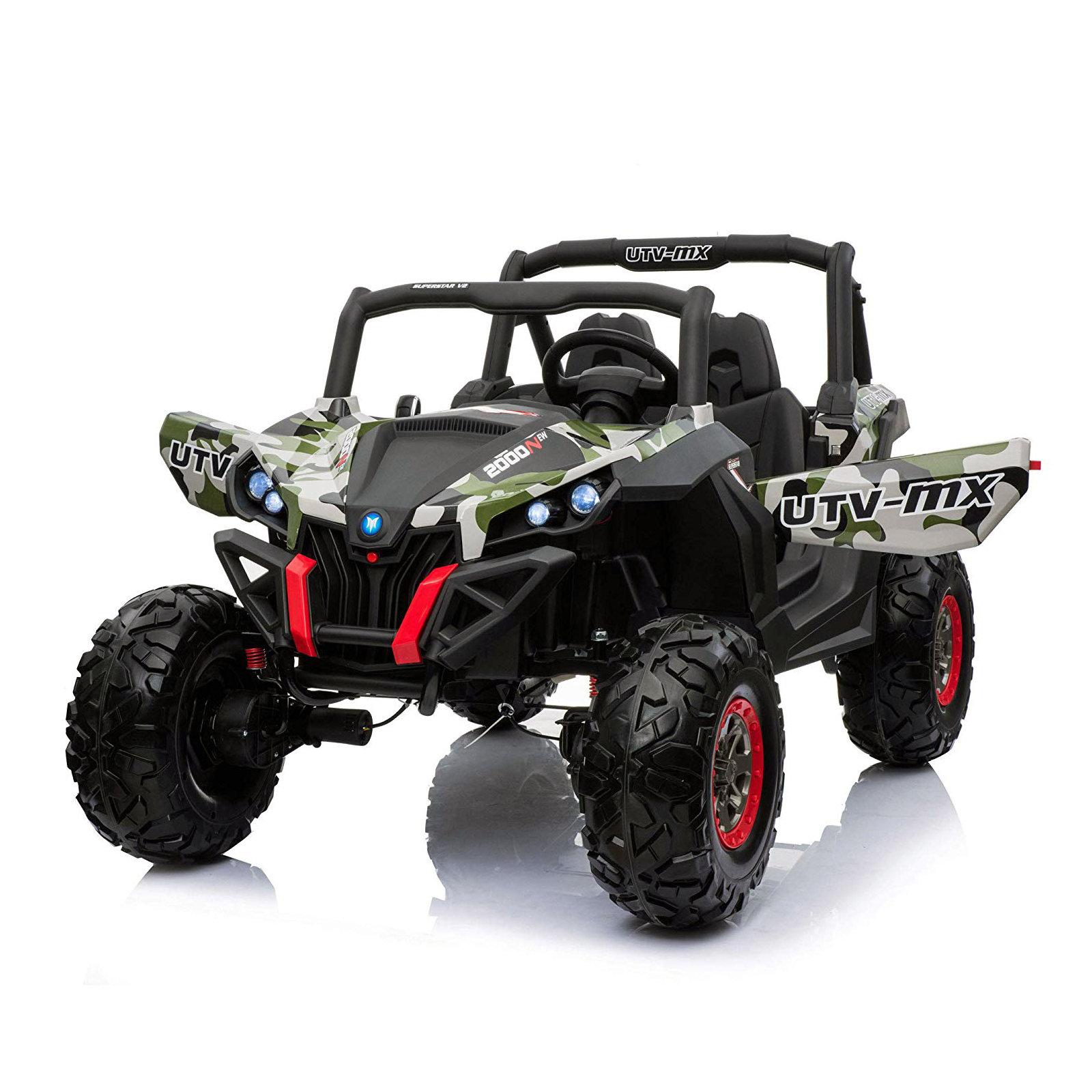 TychoTyke Kids Lightning UTV Ride on Green Camo Style