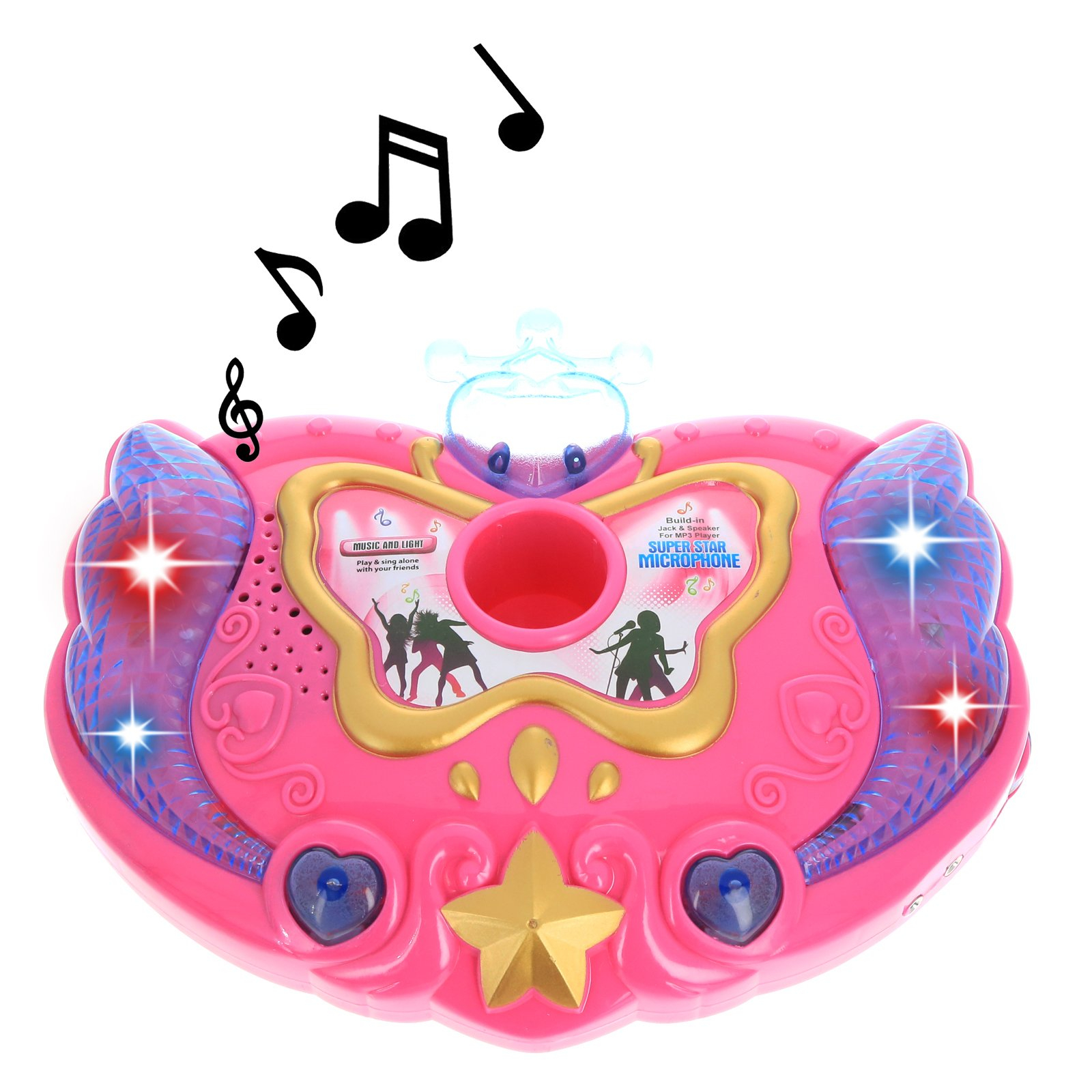 Super Star Kids IPhone Android MP3 Supported Karaoke Stand and Microphone - Pink