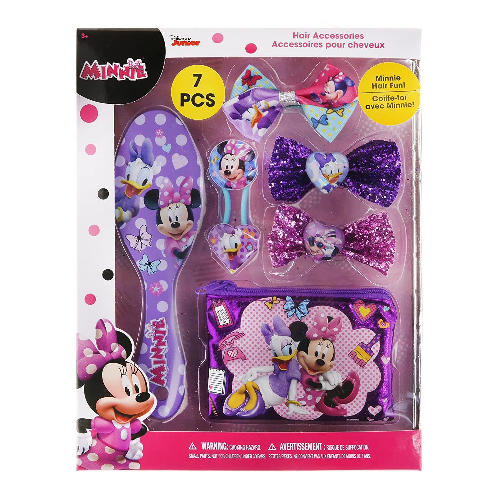 Disney Minnie Mouse Hair Brush Hair Clips Hair Elastics 7pc