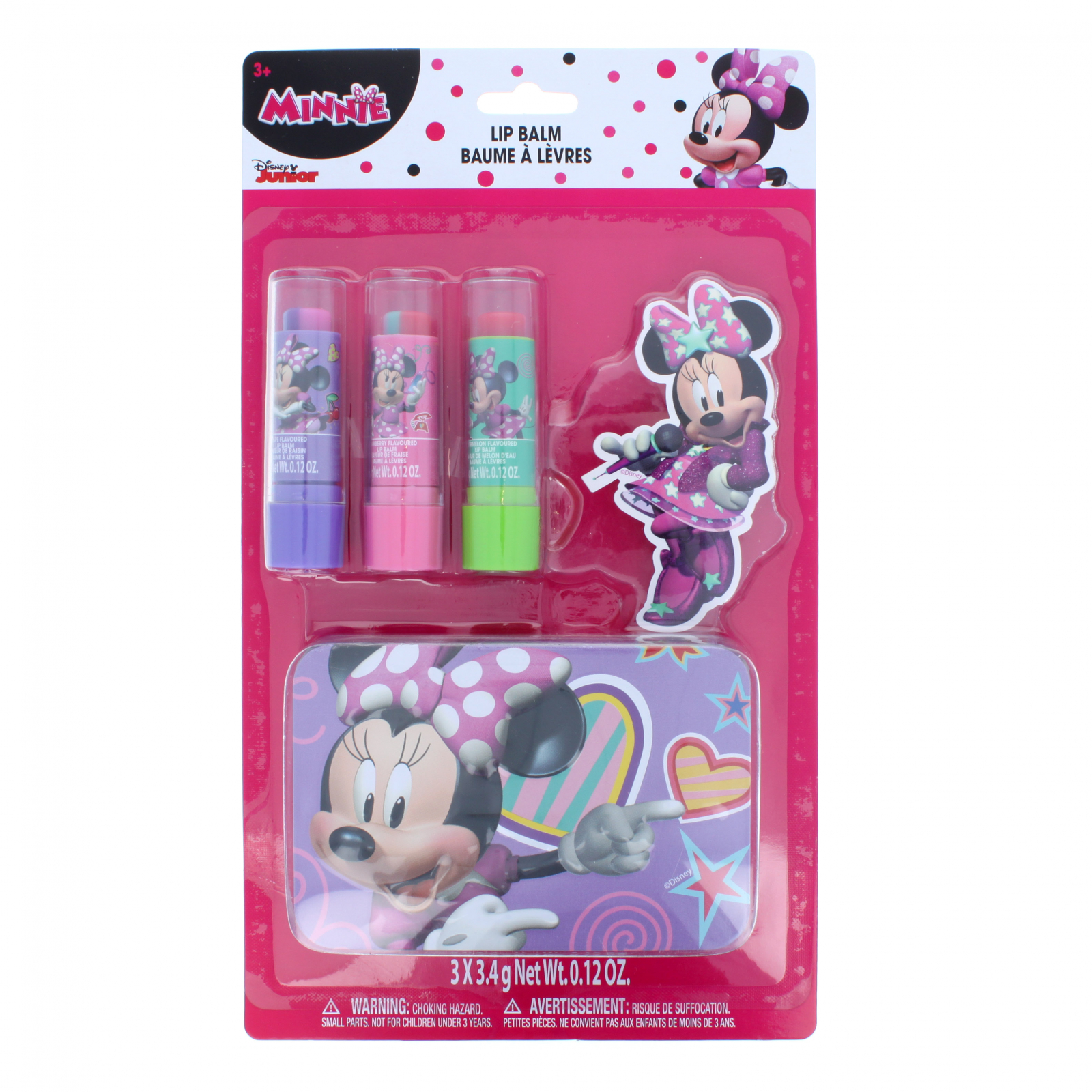 Disney Minnie Mouse Girls Flavored Lip Balm 3pk with Tin Cas