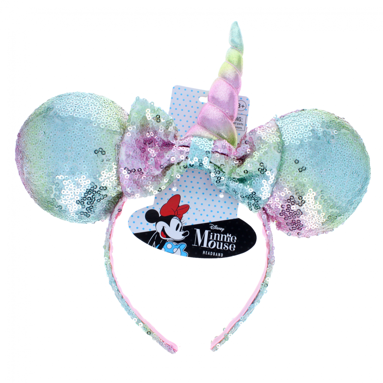 Disney Sequin Minnie Mouse Ears Unicorn Headband - Pastel