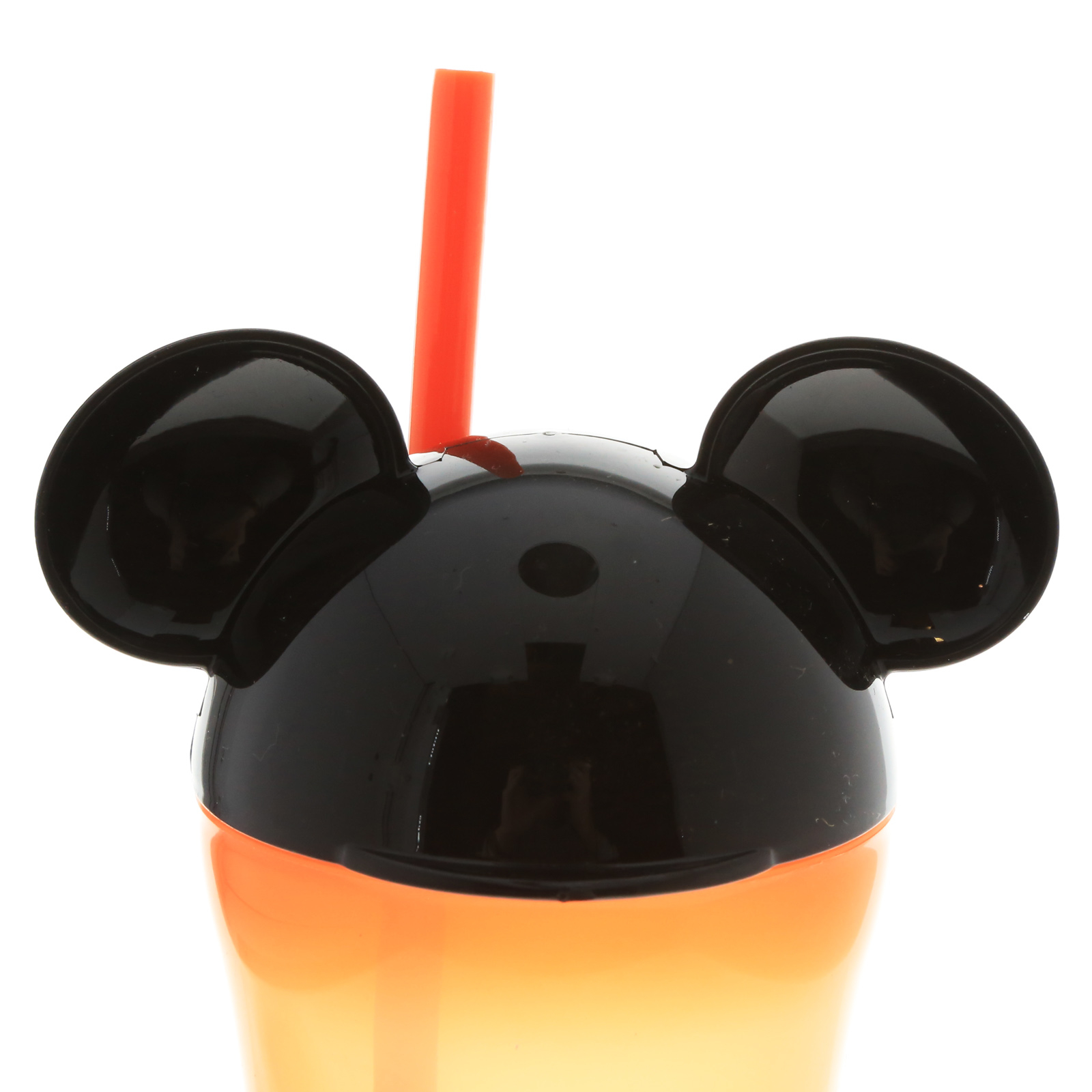 Mickey Mouse Orange 13 Ounce Travel Tumbler with Straw and Mouse Ears