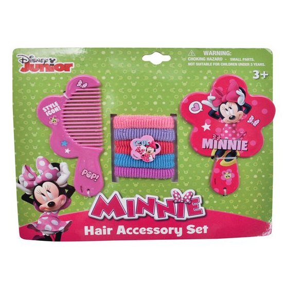 Minnie Hair Accessory Set With Mirror, Comb, and Scrunchies