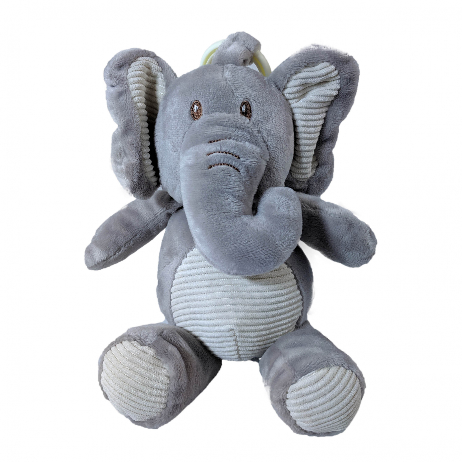 TychoTyke Clip On Baby Rattle Pram Accessory Grey Elephant