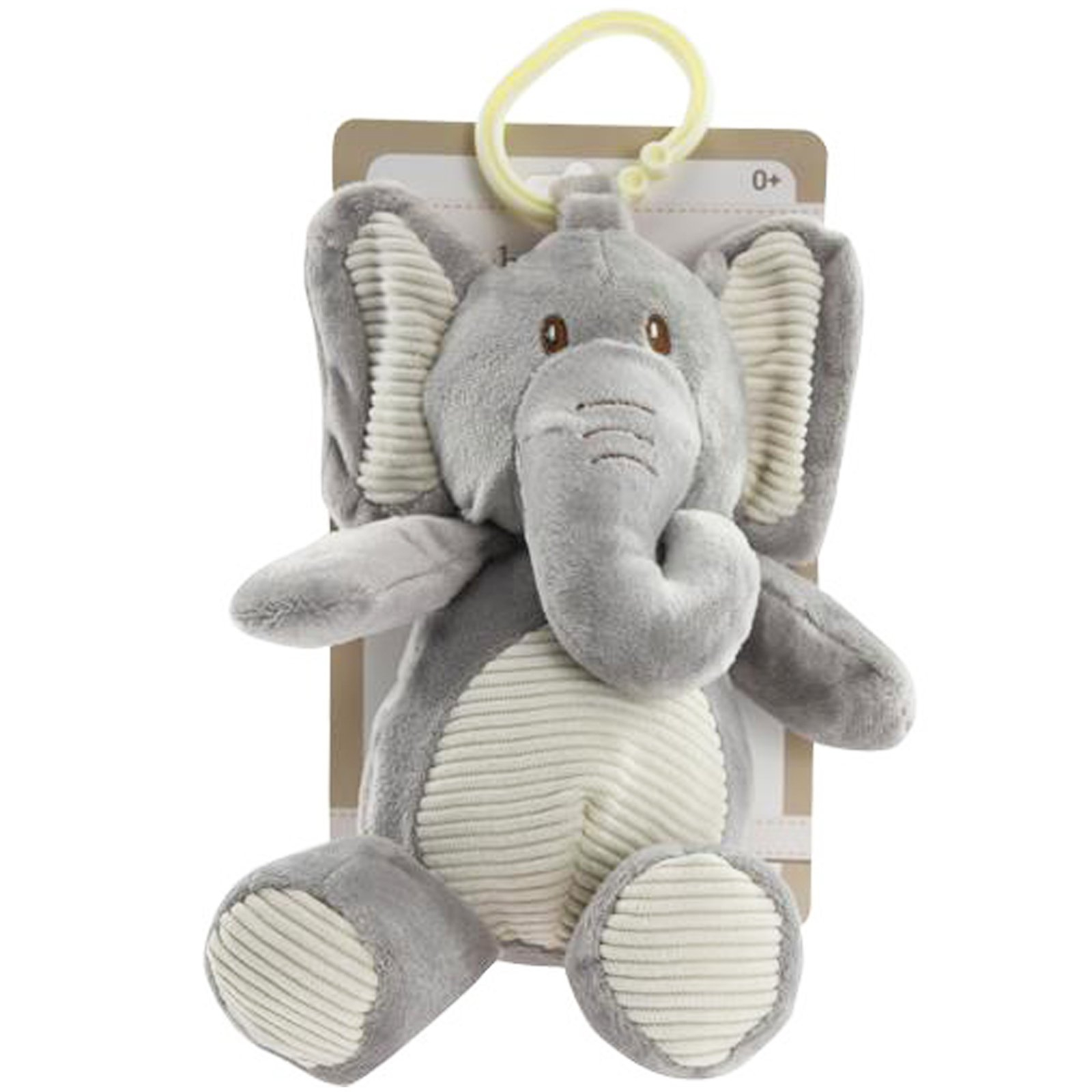 TychoTyke Baby Plush Stuffed Animal Rattle Toy Clips On Pram Grey Elephant