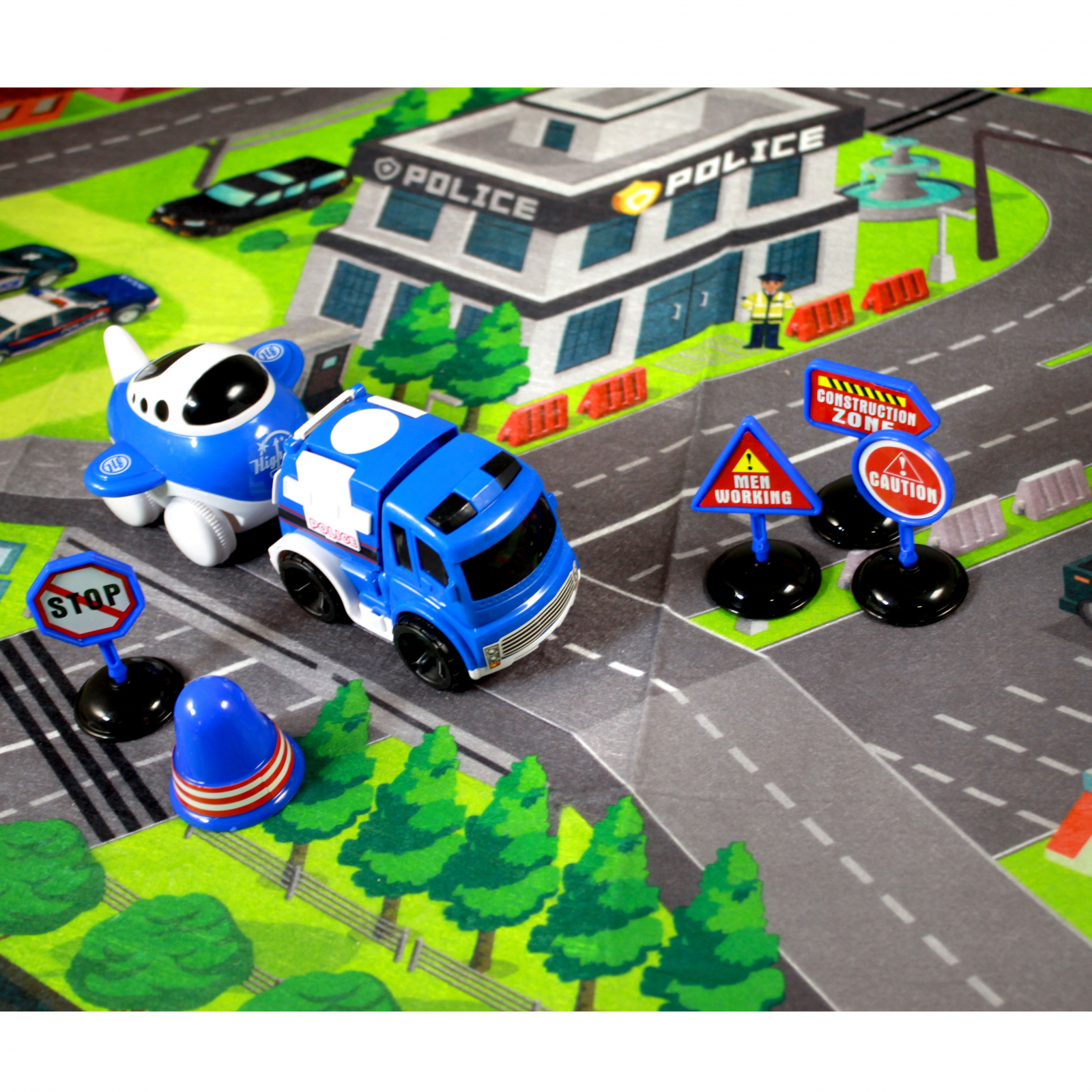 Urban Play Mat Set Friction Powered Vehicles Police Theme