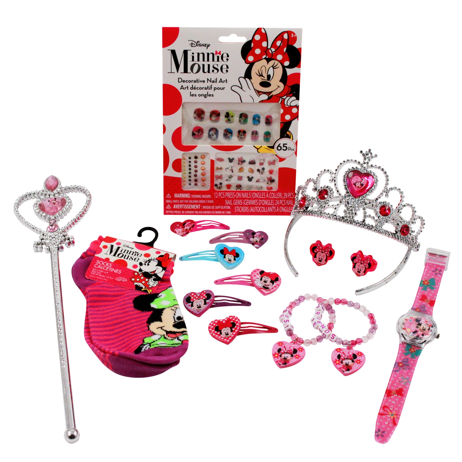 Disney Minnie Mouse Girls Halloween Costume Set Tiara Wand Hair Clips Jewelry Socks Press on Nails