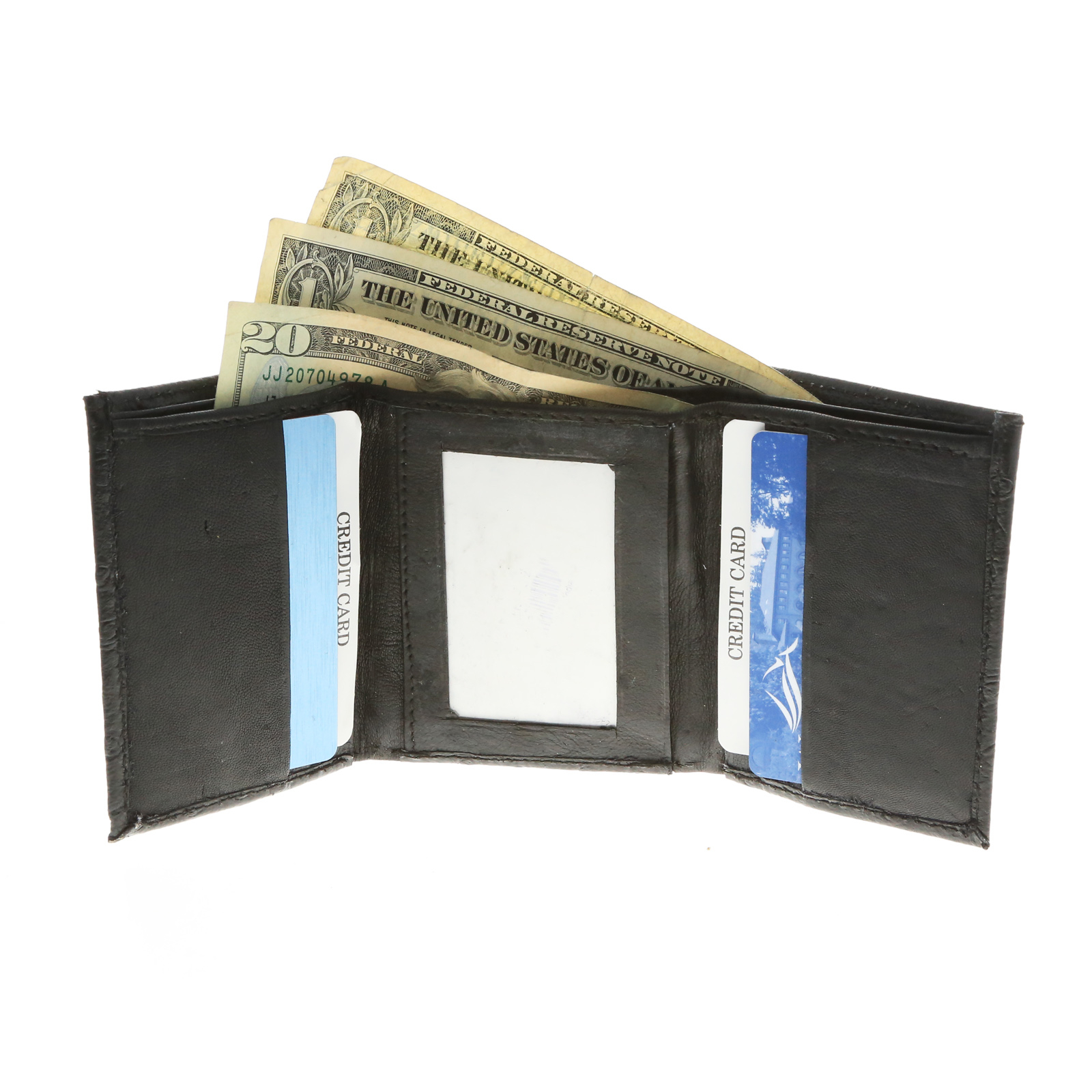 Brandon Dallas Spacious Tri-fold Black Wallet Hand Crafted with Genuine Leather