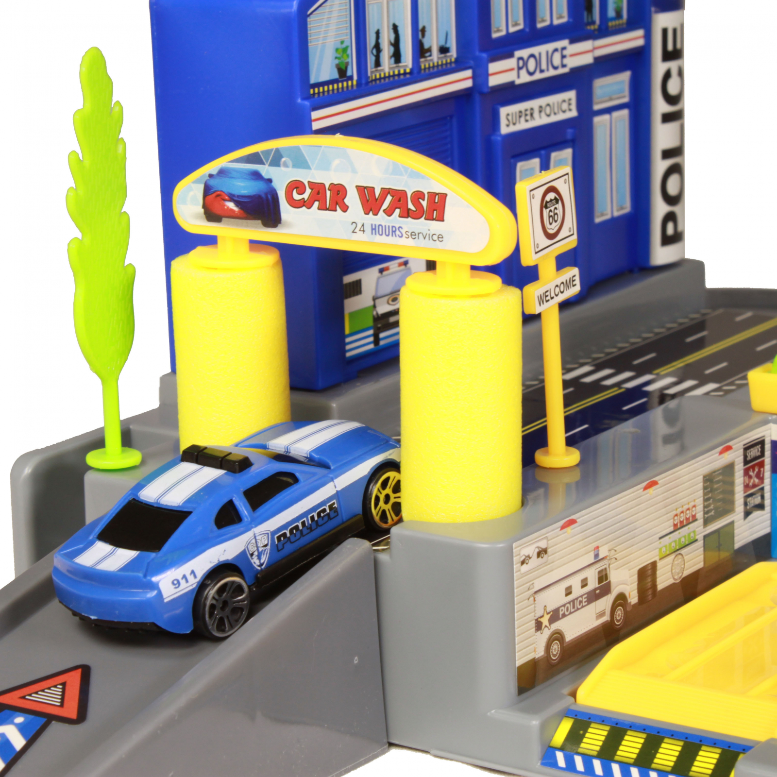 KidPlay Products Police Station Big City Multi Level Parking Garage Play Set