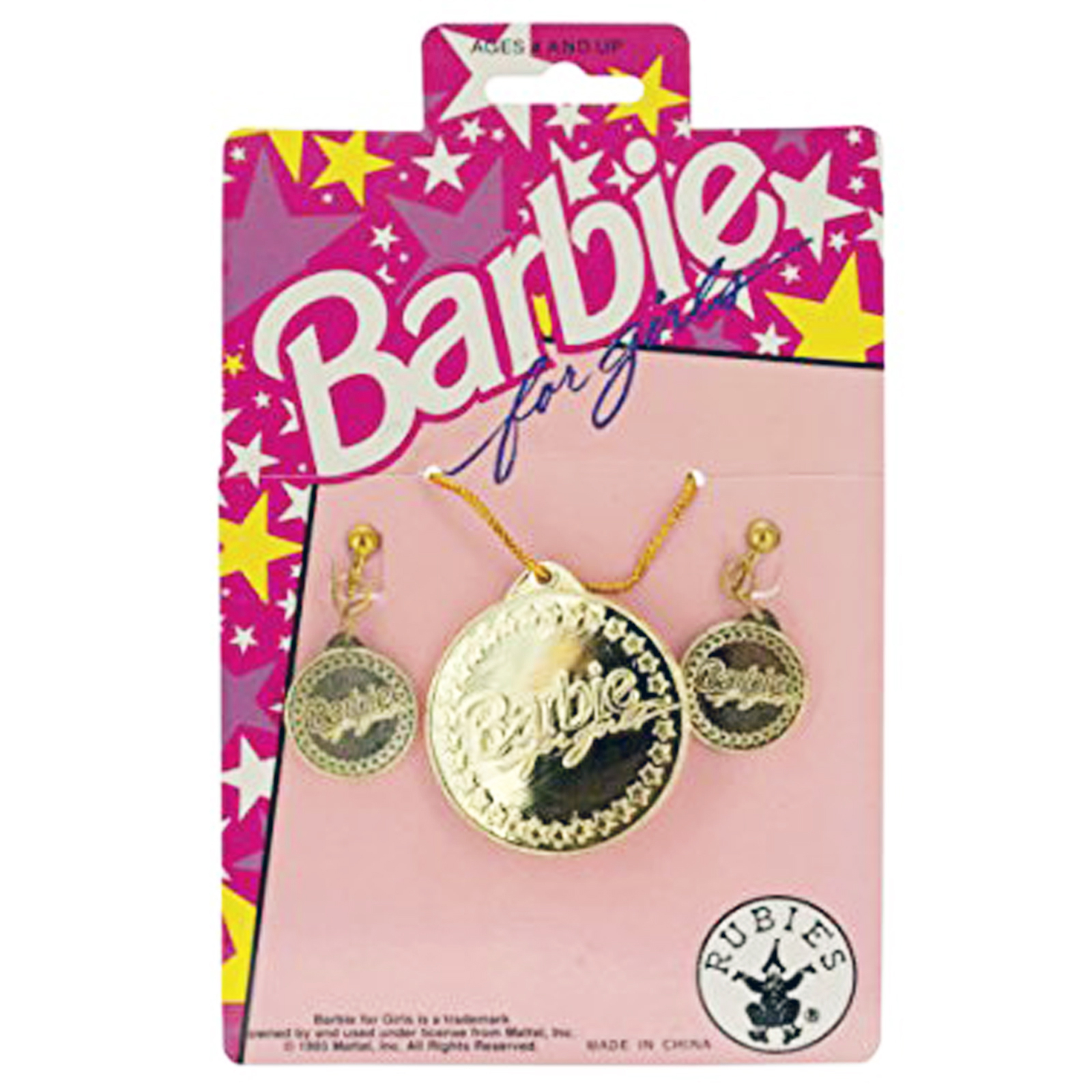 Barbie for Girls Gold Earrings and Necklace Set