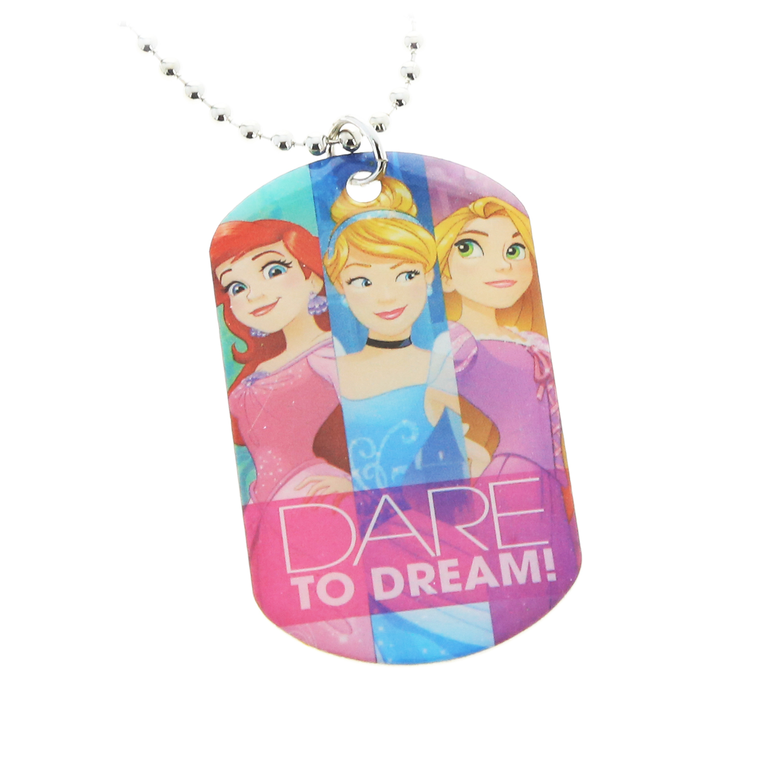 Disney Princess Dare to Dream Girls Metal Dog Tag Necklace Chain Kids Jewelry