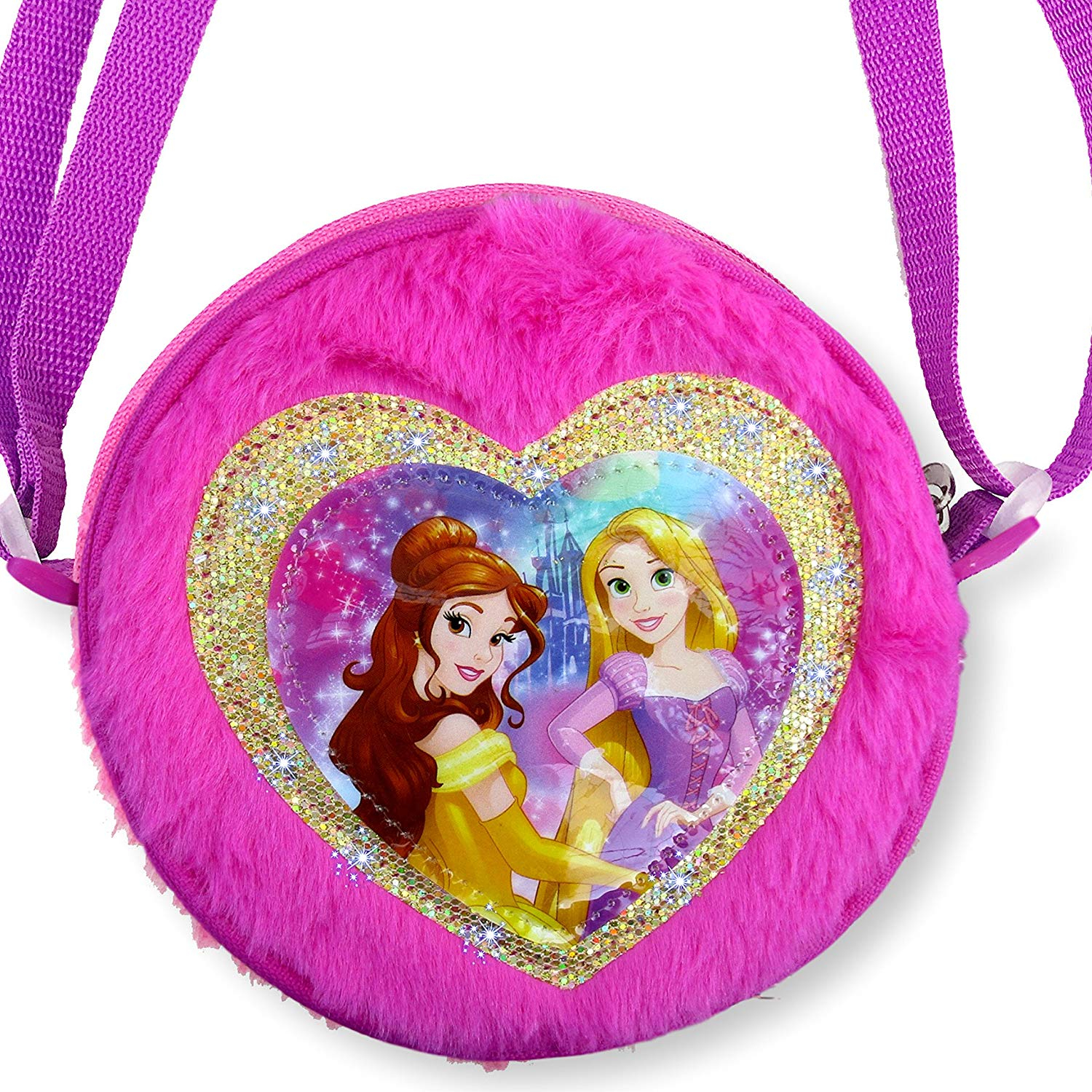 Disney Princess Belle and Rapunzel Plush Round Cross Body Bag Purse Dress Up