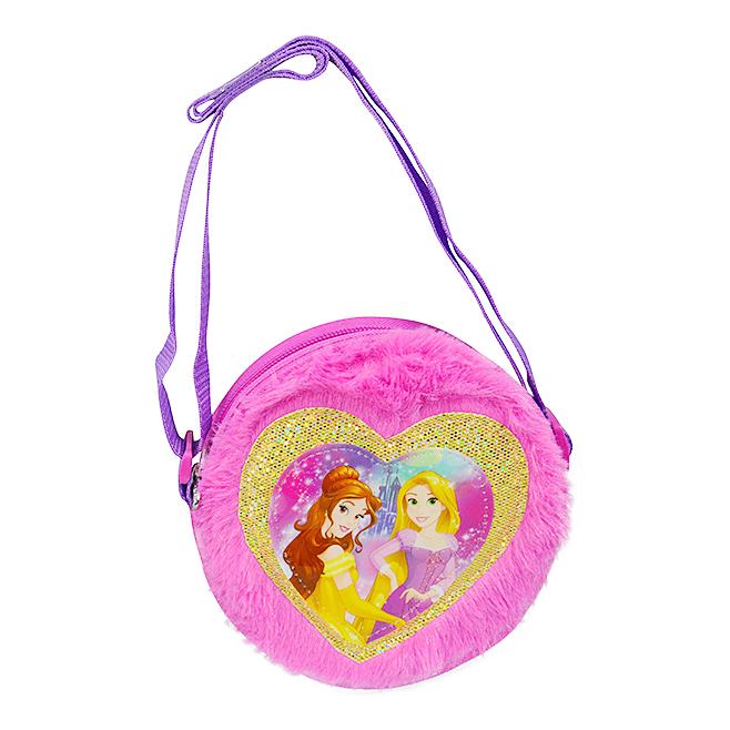 Disney Princess Belle and Rapunzel Plush Round Cross Body Bag Purse Dress Up