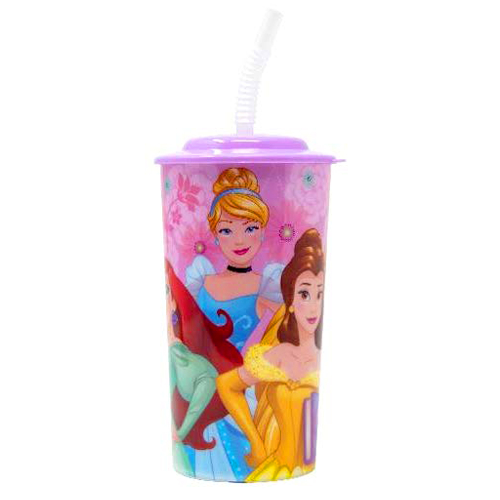 Disney Princess 16oz Sports Tumbler with Lid and Straw Girls Pink On the Go Cup