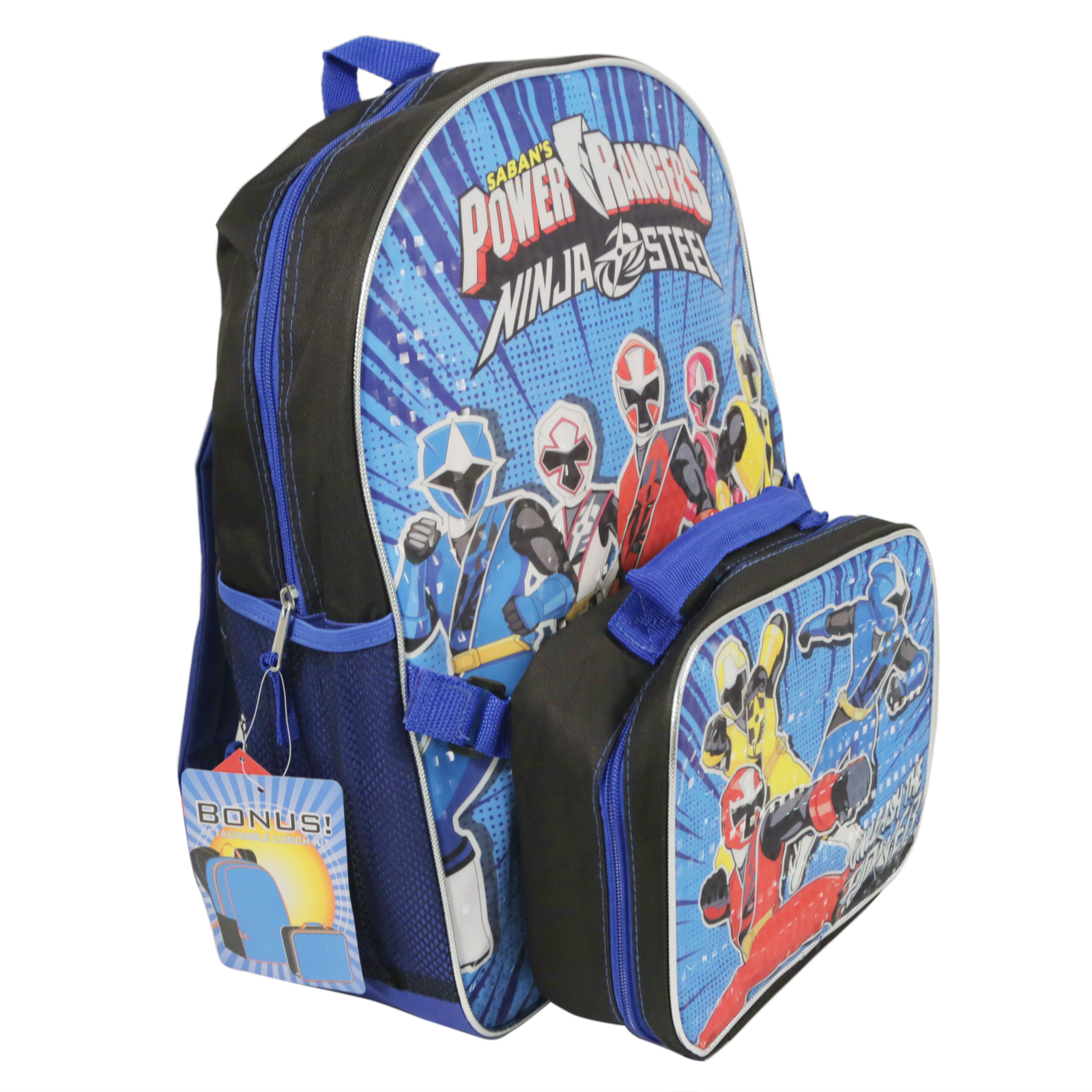 Blue Power Rangers Ninja Steel Backpack and Lunch Box Set
