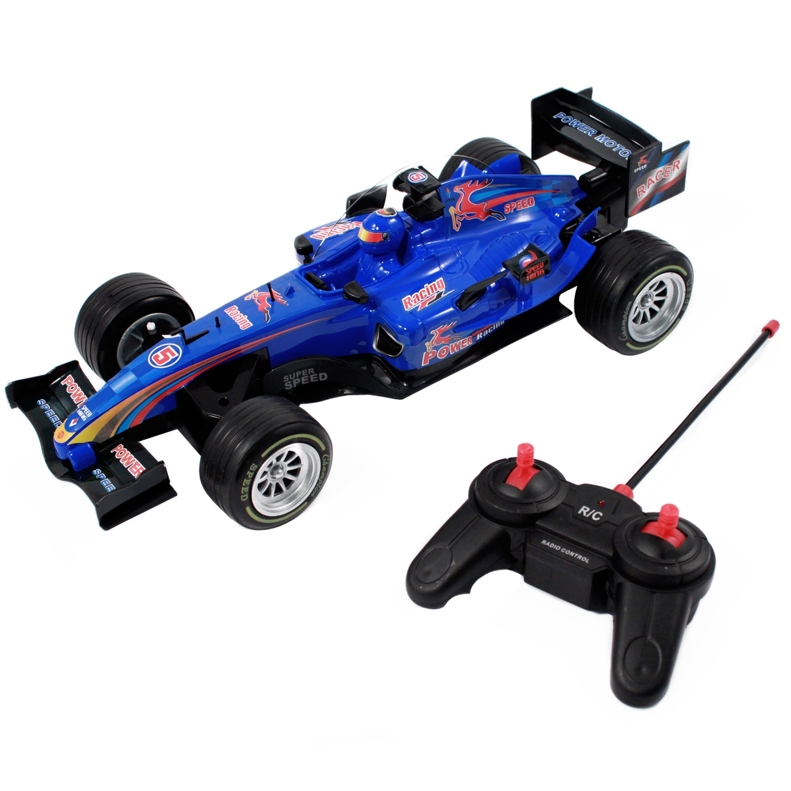 pretend play race car with remote control for kids and boys in blue red