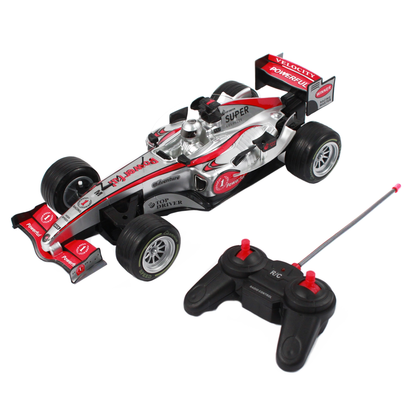 Pretend Play Race Car with Remote Control For Kids and Boys in Silver, Red, and Black Colors that is Fast with Cool Designs