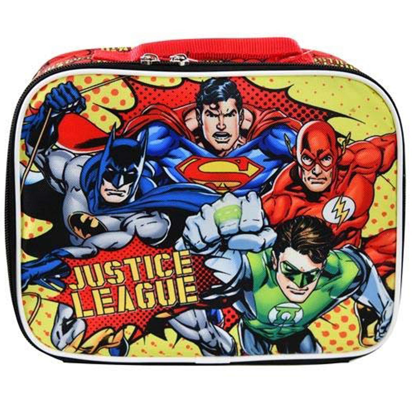 DC Comics Justice League Kids Insulated Lunch Bag School Tote Sturdy Zipper