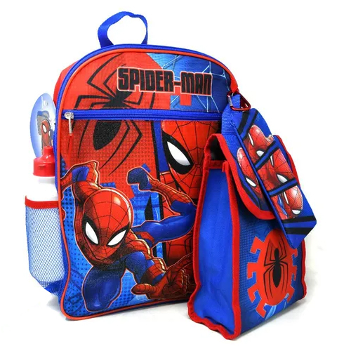 Marvel Spiderman 16 Inch Back to School Kids Backpack 5pc