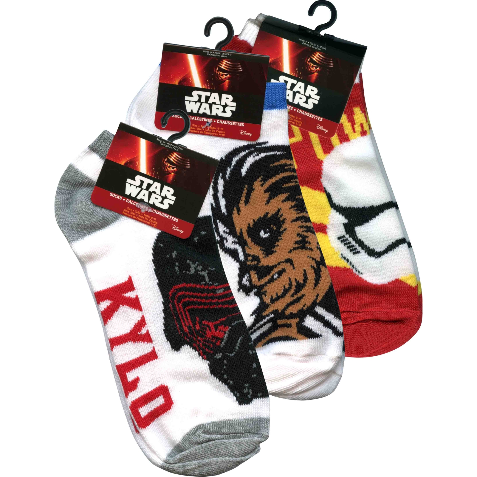 Star Wars Kylo Ren, Chewbecca, Storm Tropper The Force Awakens Anklet Sock Accessory 3 Pack Size 9-11