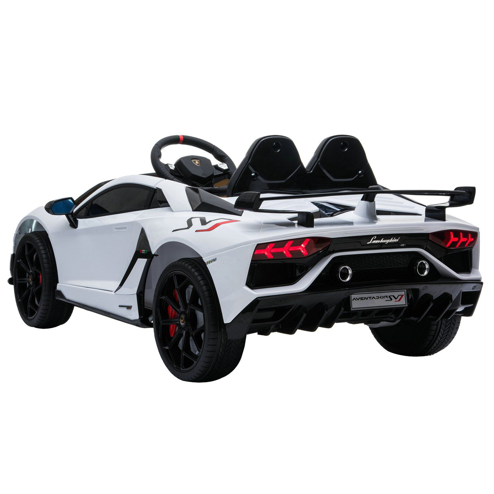 Lamborghini SVJ Kids Ride On Car Aux USB Port SD Card White
