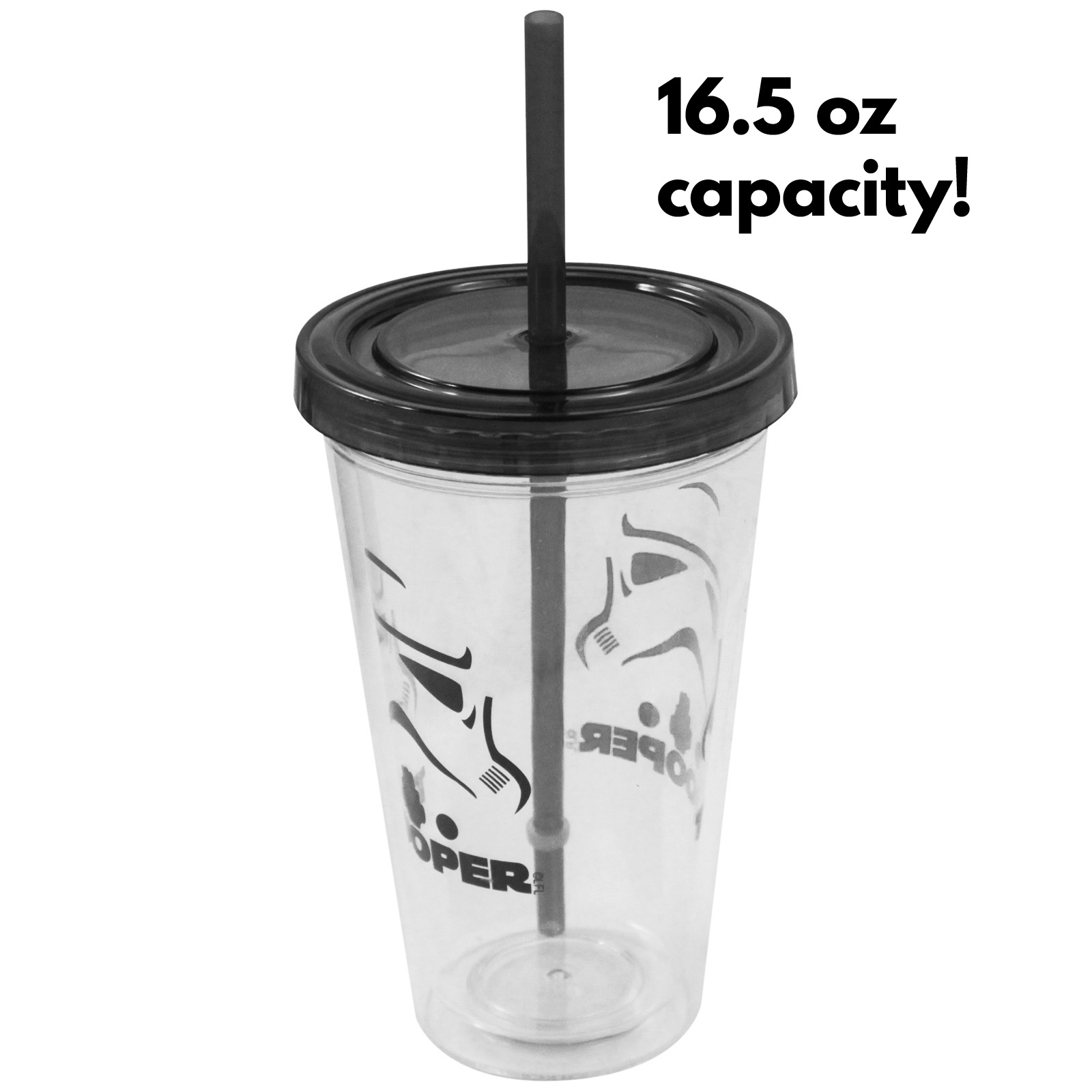 Star Wars 16 Ounce Travel Water Bottle Stormtrooper Logo Tumbler with Straw