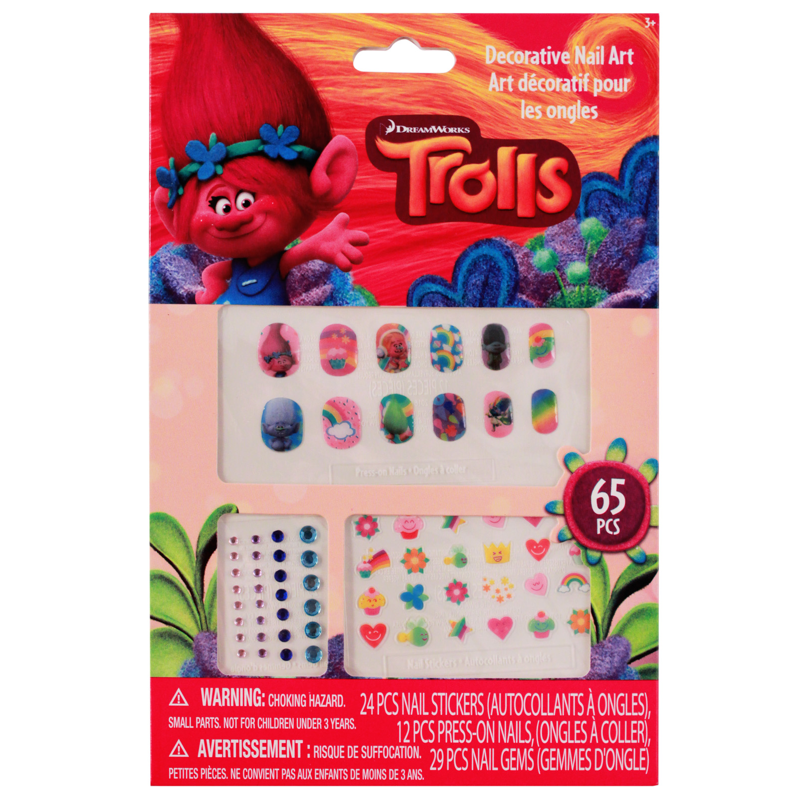 In Box Colorful Gems and Stickers Girls Dress Up Press on Nail Set 12pc Trolls Princess Poppy