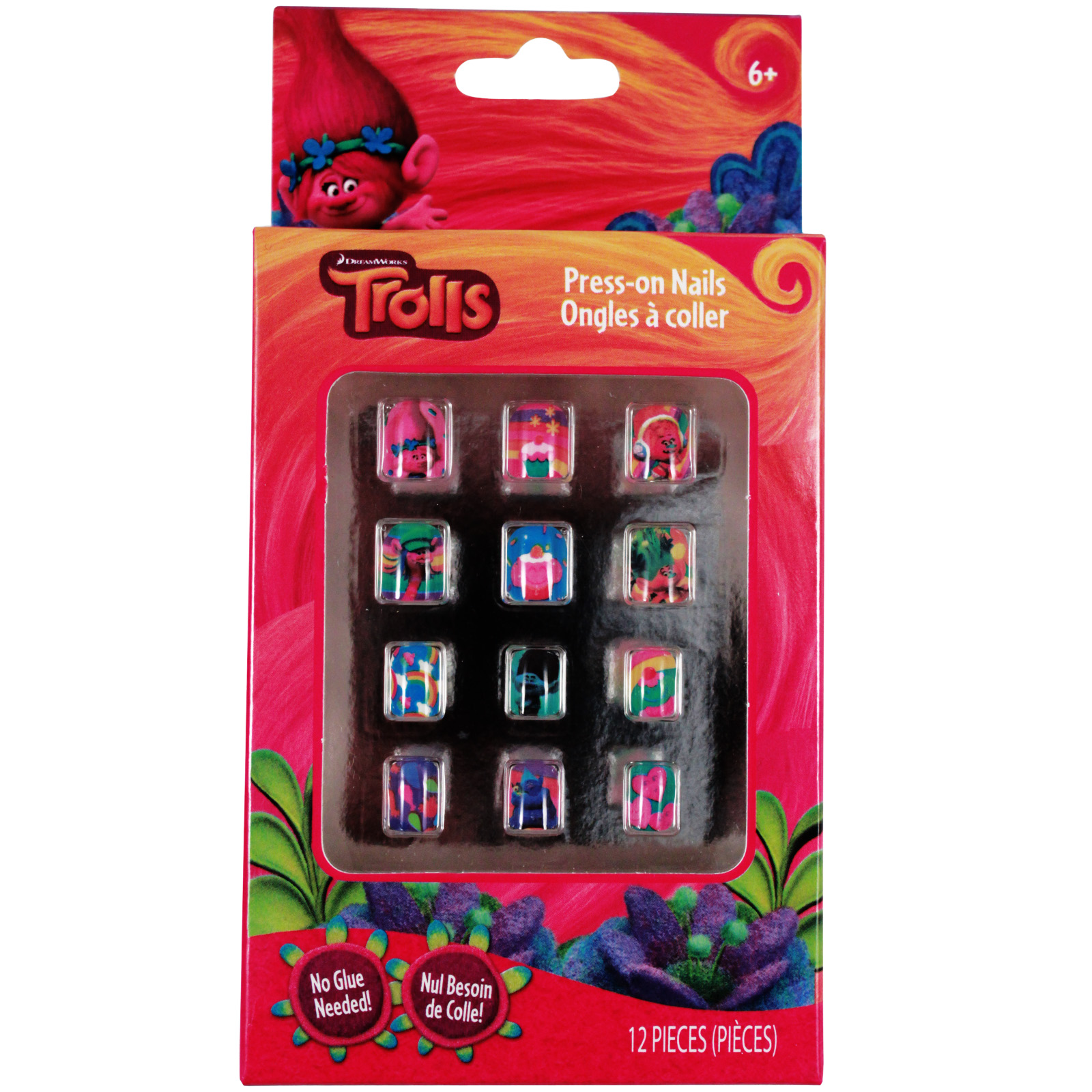 Dreamworks Trolls Princess Poppy and Snack Pack Press on Nails Girls Dress up and Pretend Play 12 piece Gift Set