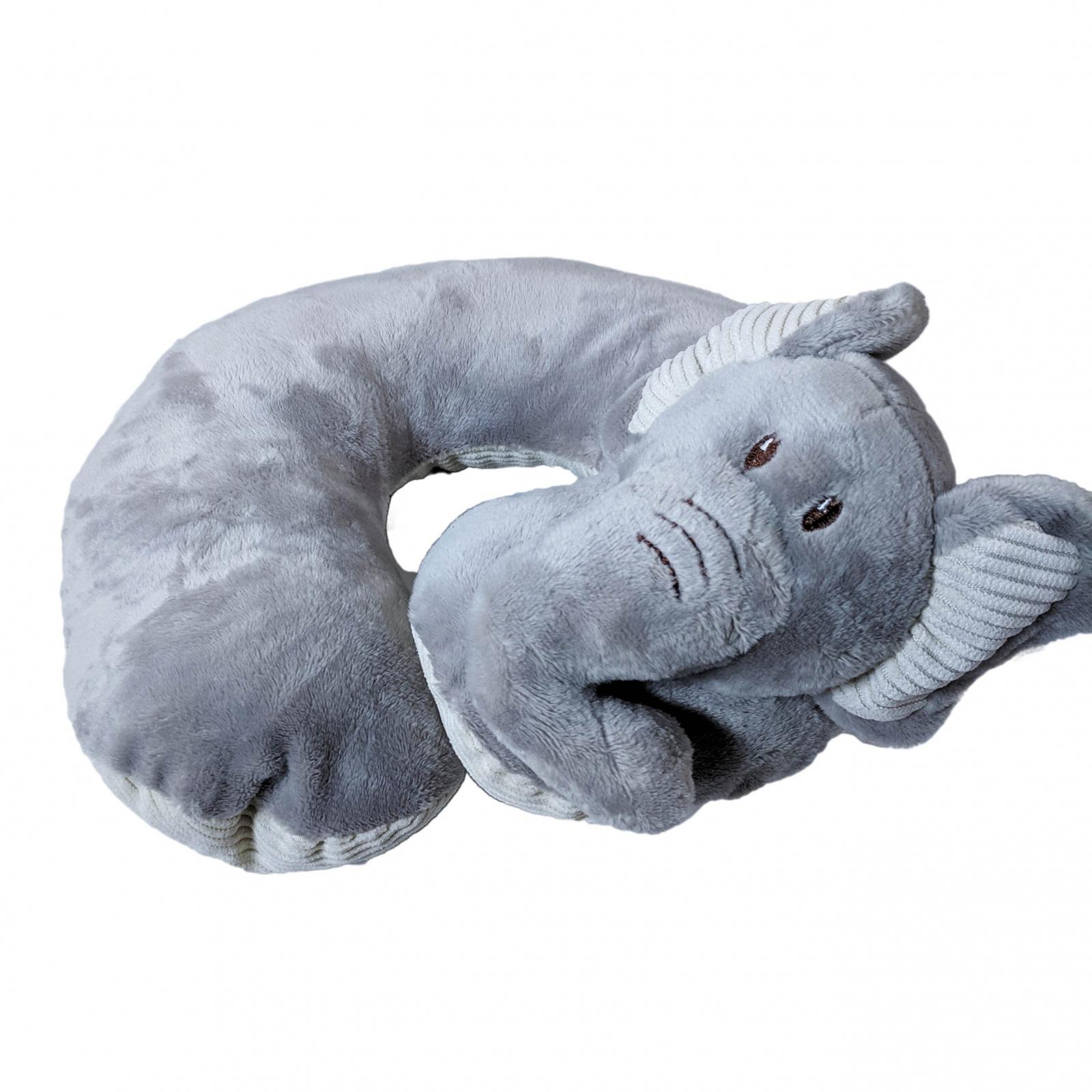 TychoTyke Baby Neck Pillow Soft Plush Grey Elephant Design