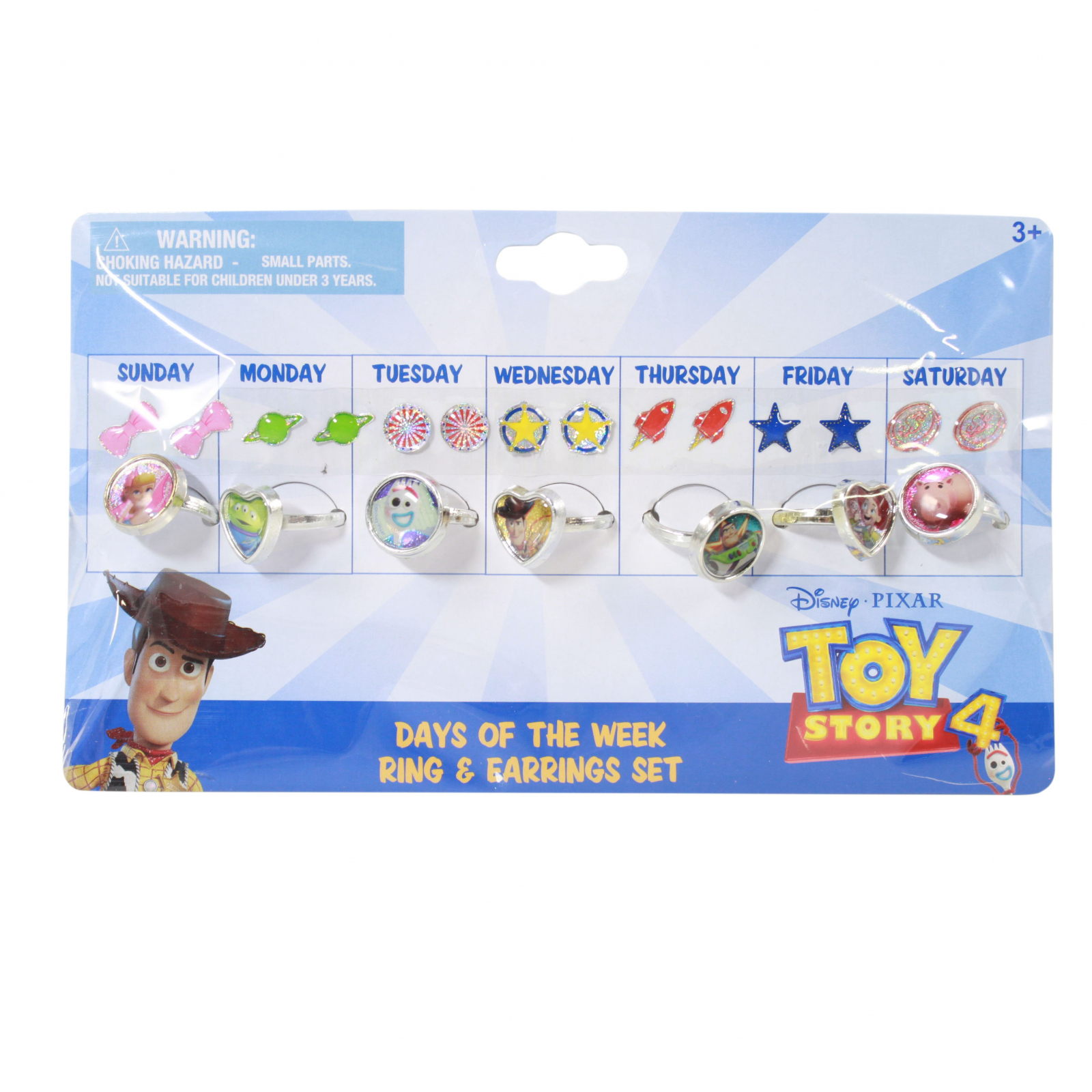 Toy Story 4 Days of the Week Stick On Earrings and Rings Set