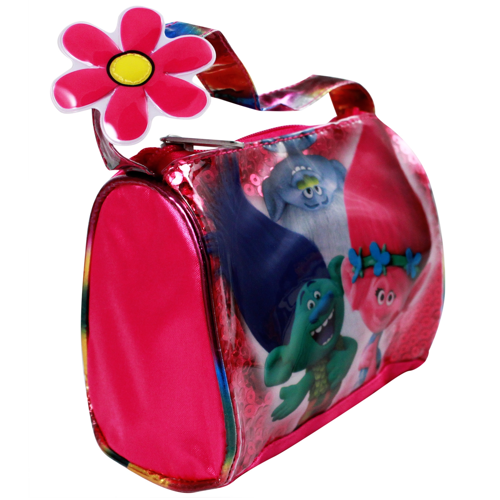 Dreamworks Trolls Satin Handbag Girls Dress Up Purse Featuring Poppy, Branch, and Guy Diamond