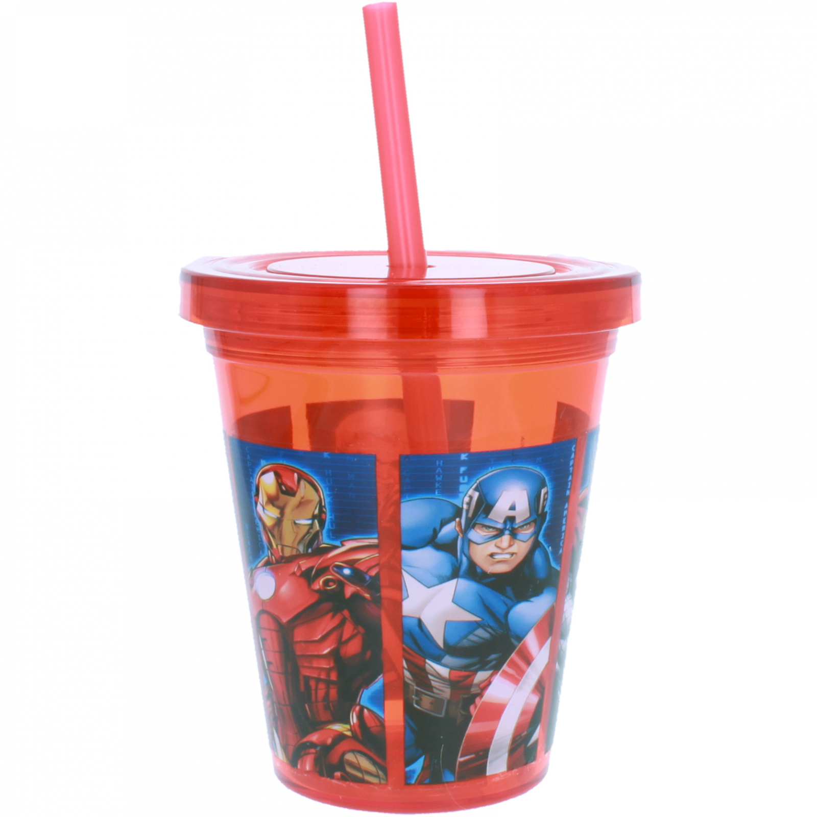 Marvel Avengers Assemble 10z Kids Cup Drink Tumbler with Straw - Red