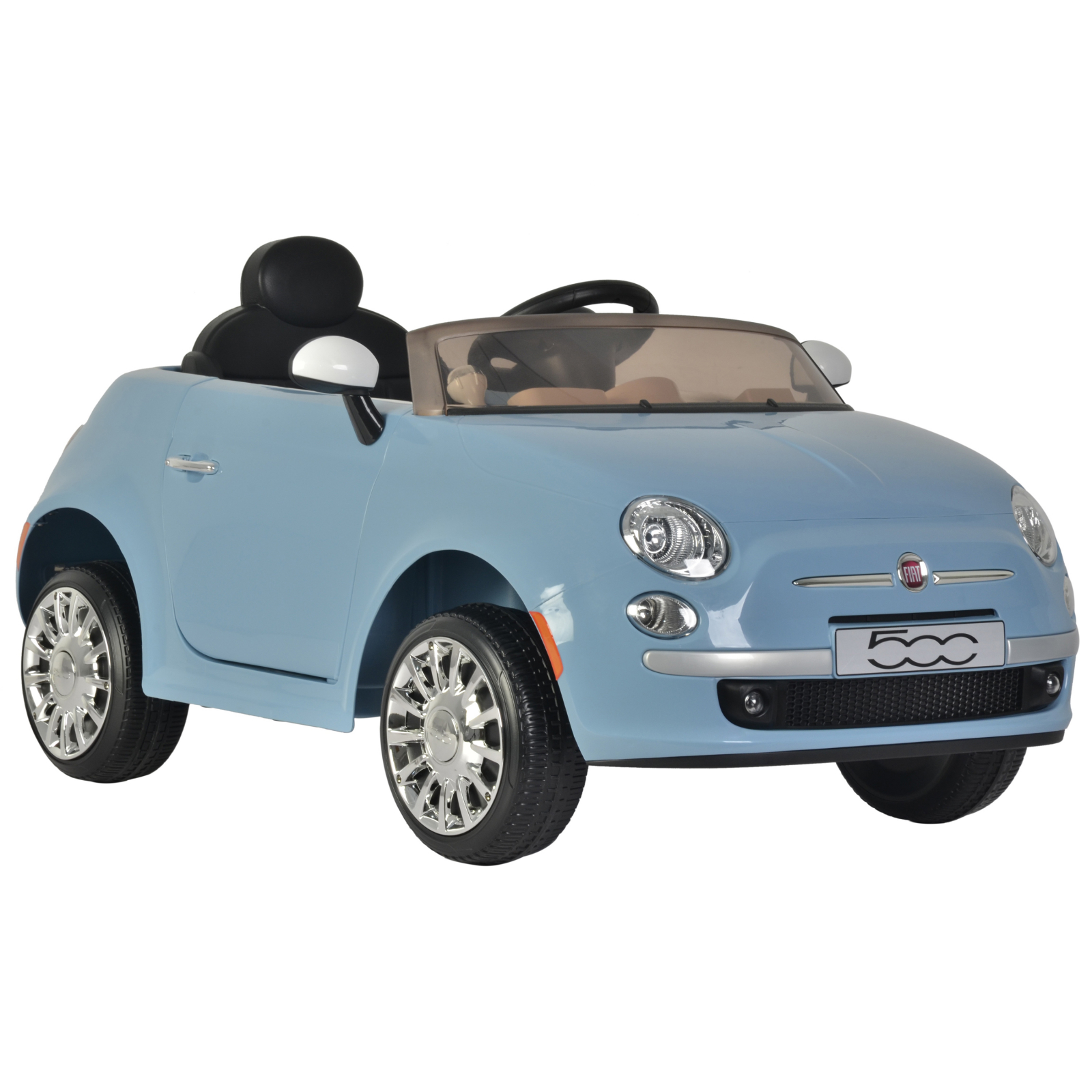 KidPlay Products Girls Ride On Car Fiat 500 Blue 12V Battery Kids Ride-able Car