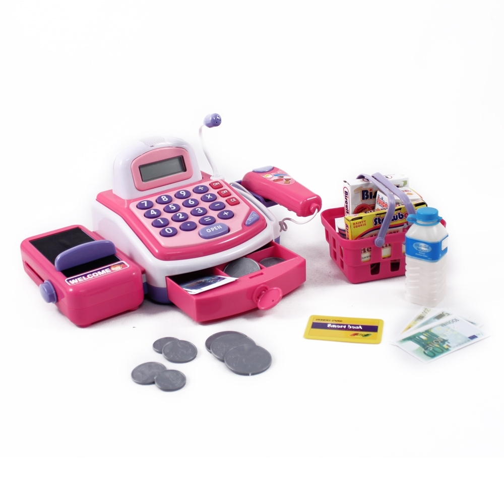 Pink Cash Register Electronic Pretend Play Kids Toy with Realistic Actions and Sounds for Developmental Learning