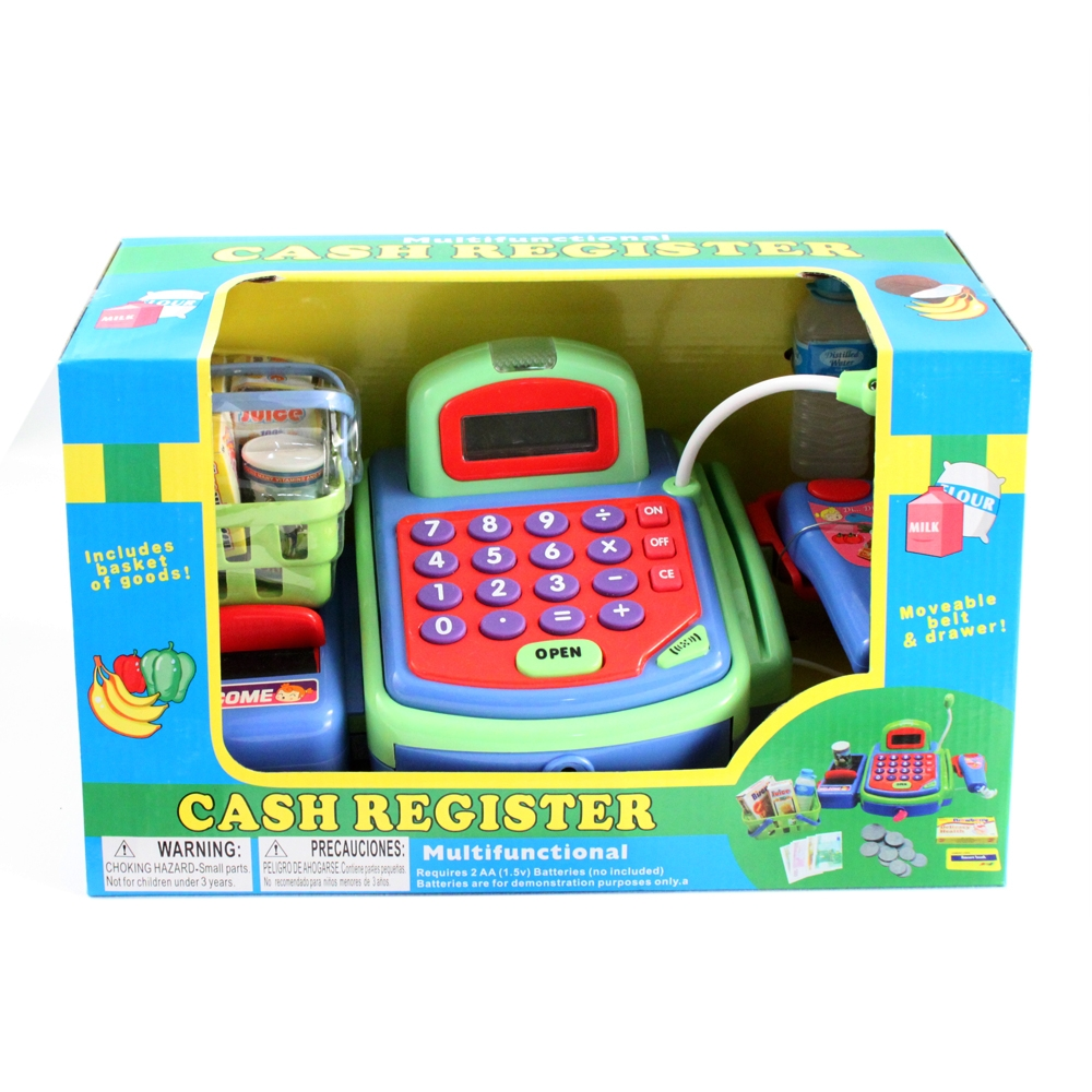 Supermarket Cash Register with Checkout Scanner, Weight Scale, Microphone, Calculator, Play Money and Food Shopping
