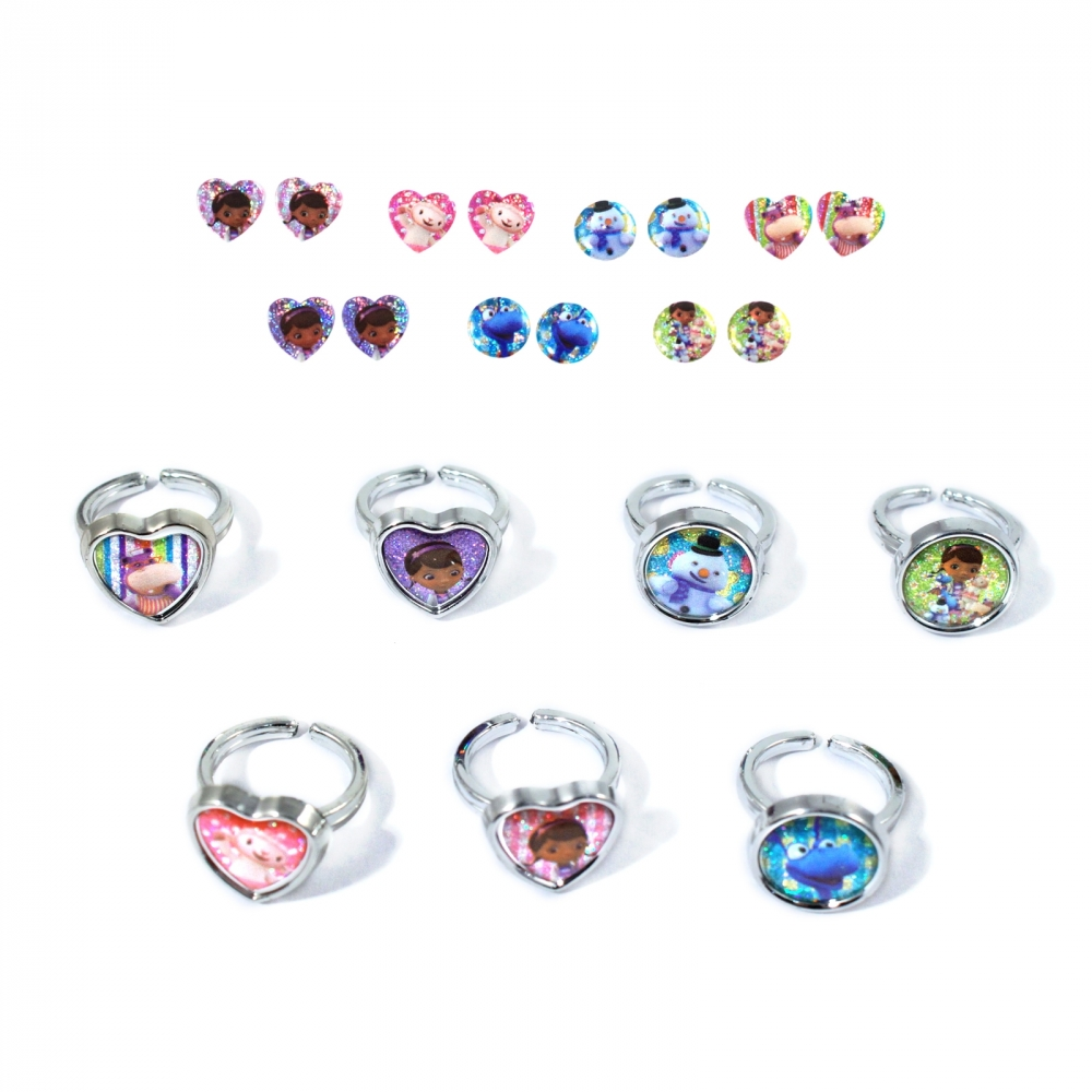 Doc McStuffins Girls Rings and Earrings Set Days of the Week