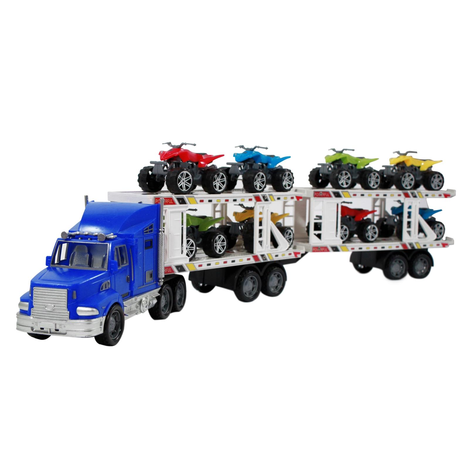 Deluxe blue realistic semi truck auto hauler
