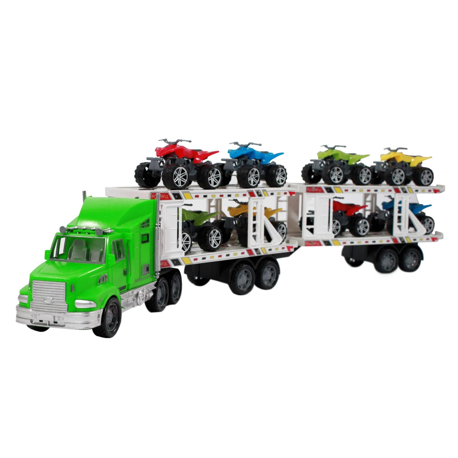 Deluxe green realistic semi truck auto hauler