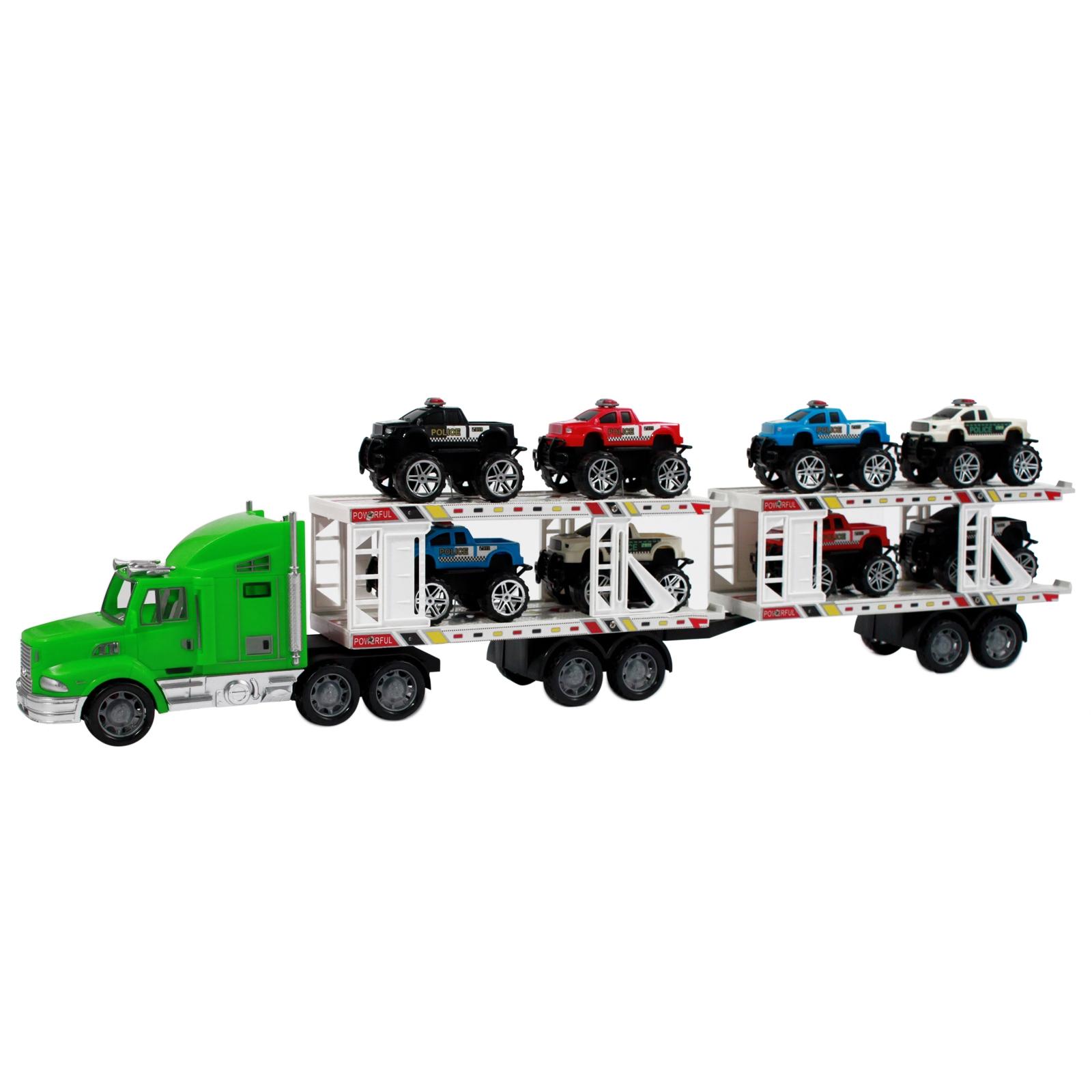 Deluxe Semi Truck Auto Hauler in Bright and Shiny Green