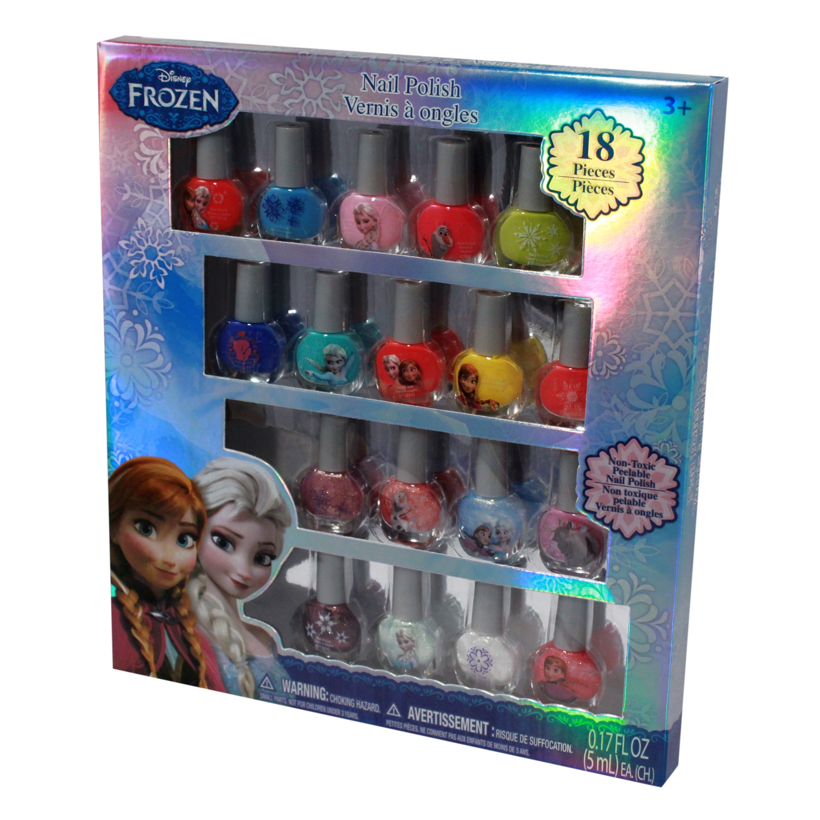 Disney Frozen Anna, Elsa, Olaf, and Sven 18 Piece Nail Polish Set Frozen Nail Polish Box, 18 Count non toxic and peelable polish