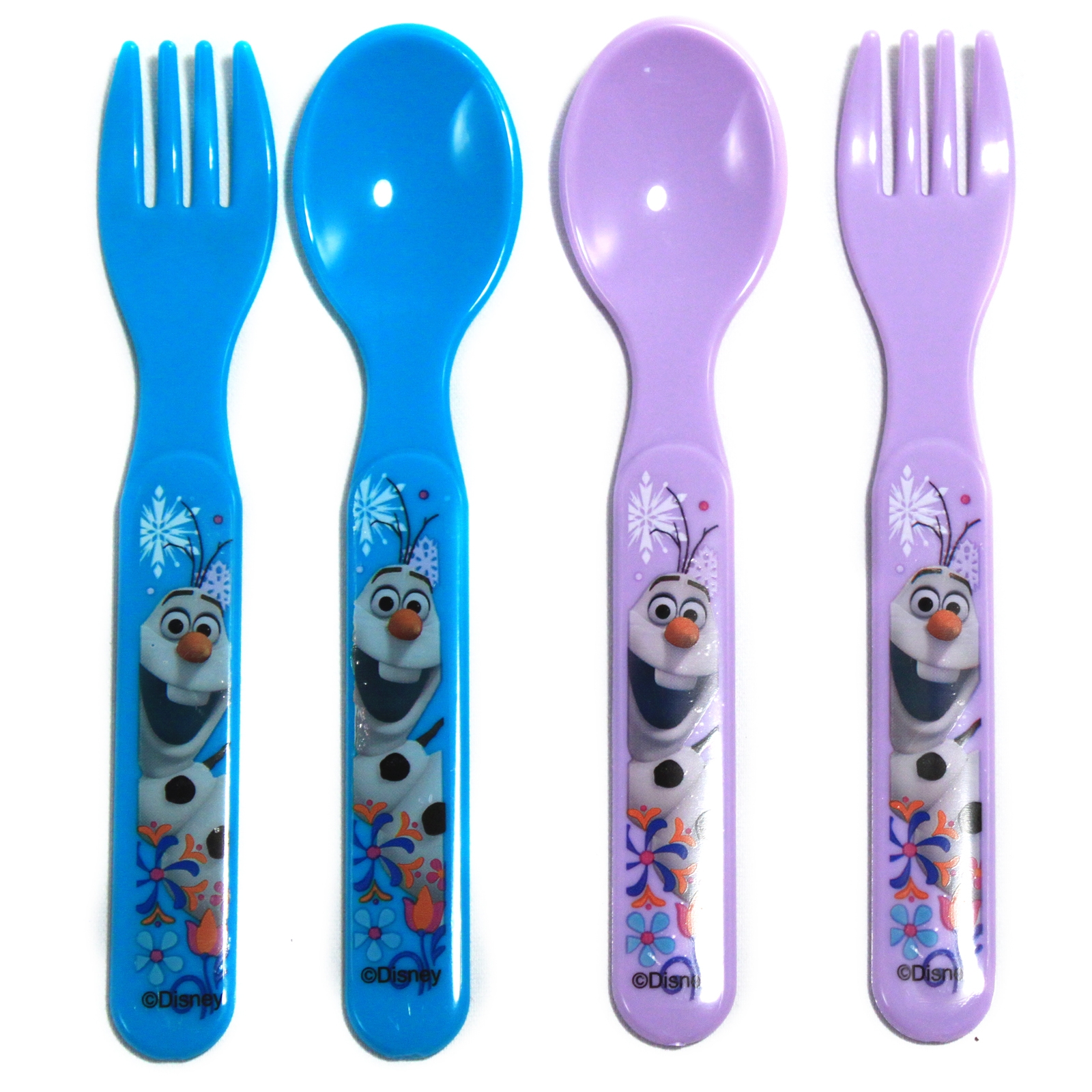 disney frozen childrens lunch fork and spoon BPA free utensil set 4 piece 4pc Disney Frozen Childrens Utensil Set BPA Free