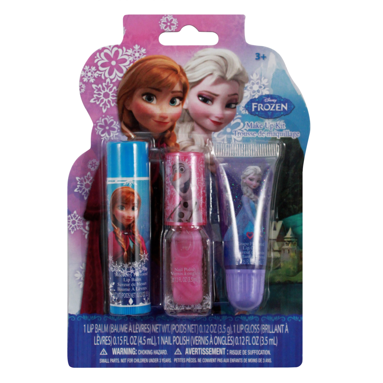 Disney's Frozen Beauty Cosmetic Set for Kids Disney Frozen Lip Balm and Lip Gloss with Cosmetic Bag in